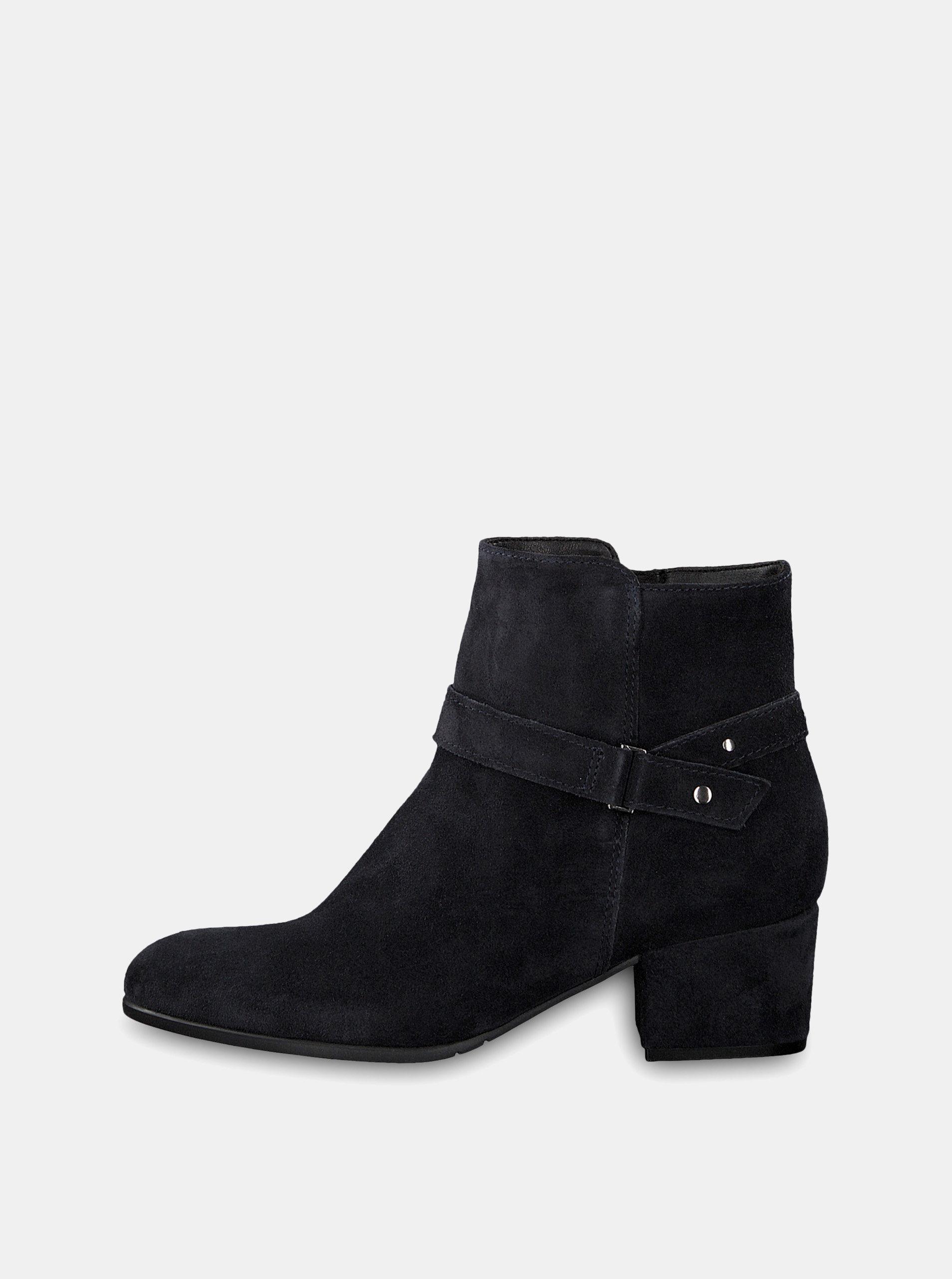 Tmavě modré semišové kotníkové boty na podpatku Tamaris ... bd9db2319c