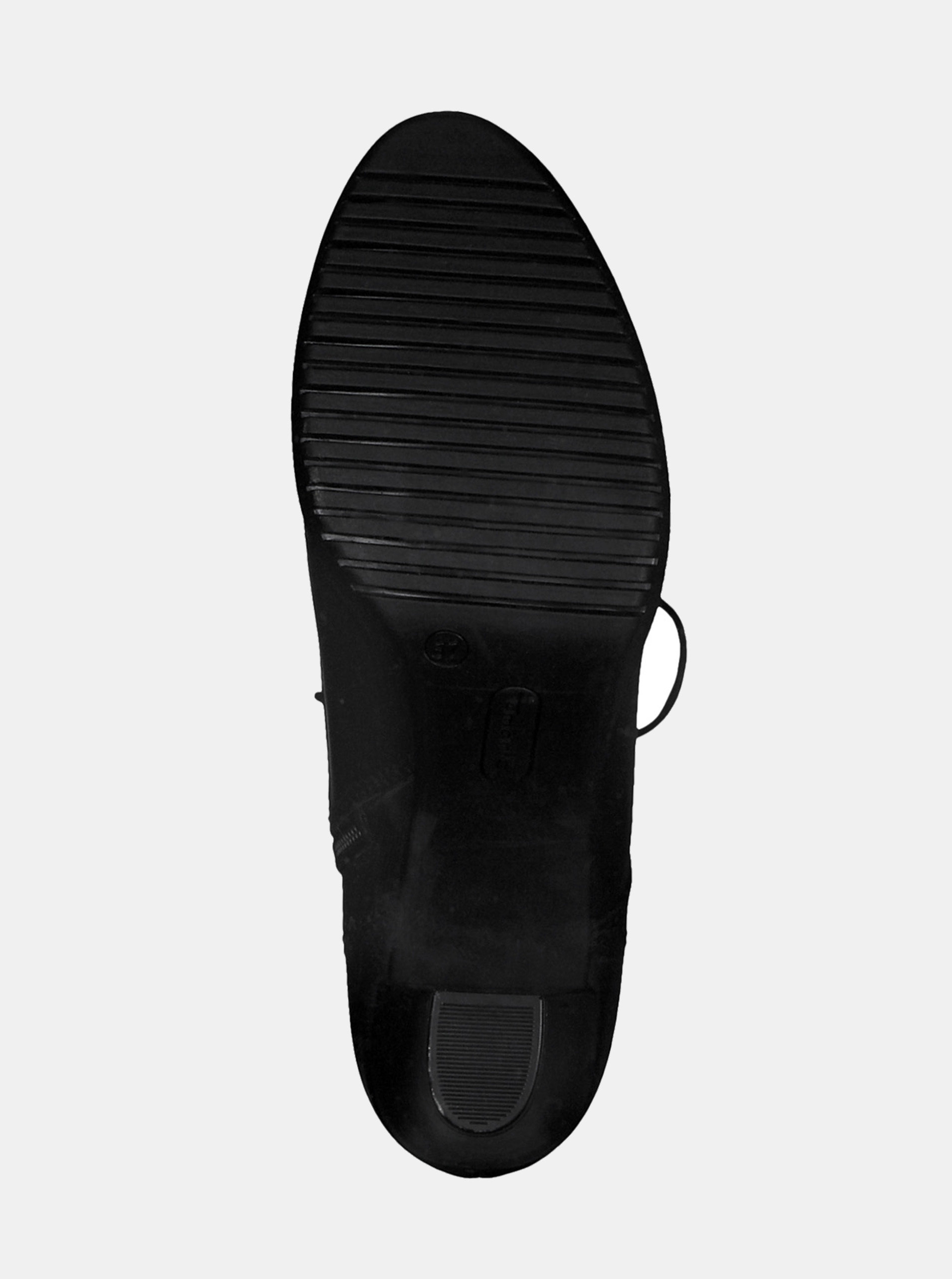 a933b4e7039 Černé kožené kotníkové boty na vysokém podpatku se šněrováním Tamaris ...