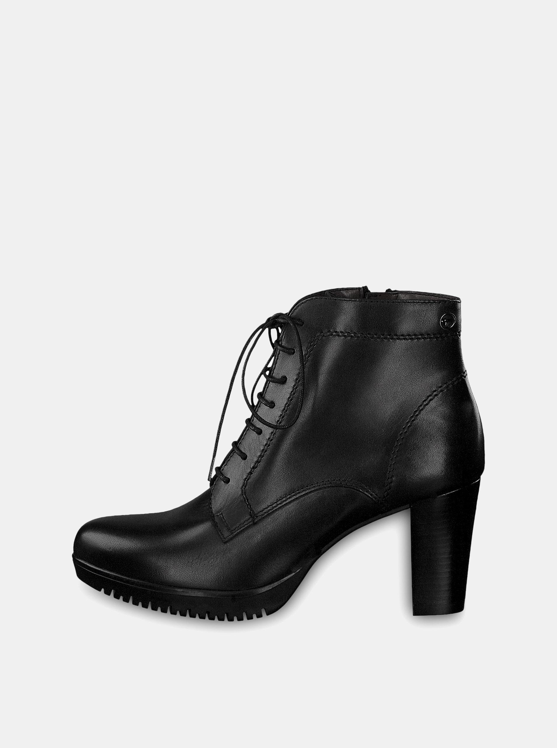 Čierne kožené členkové topánky na vysokom podpätku so šnurovaním Tamaris ... 3ffffdebd1d