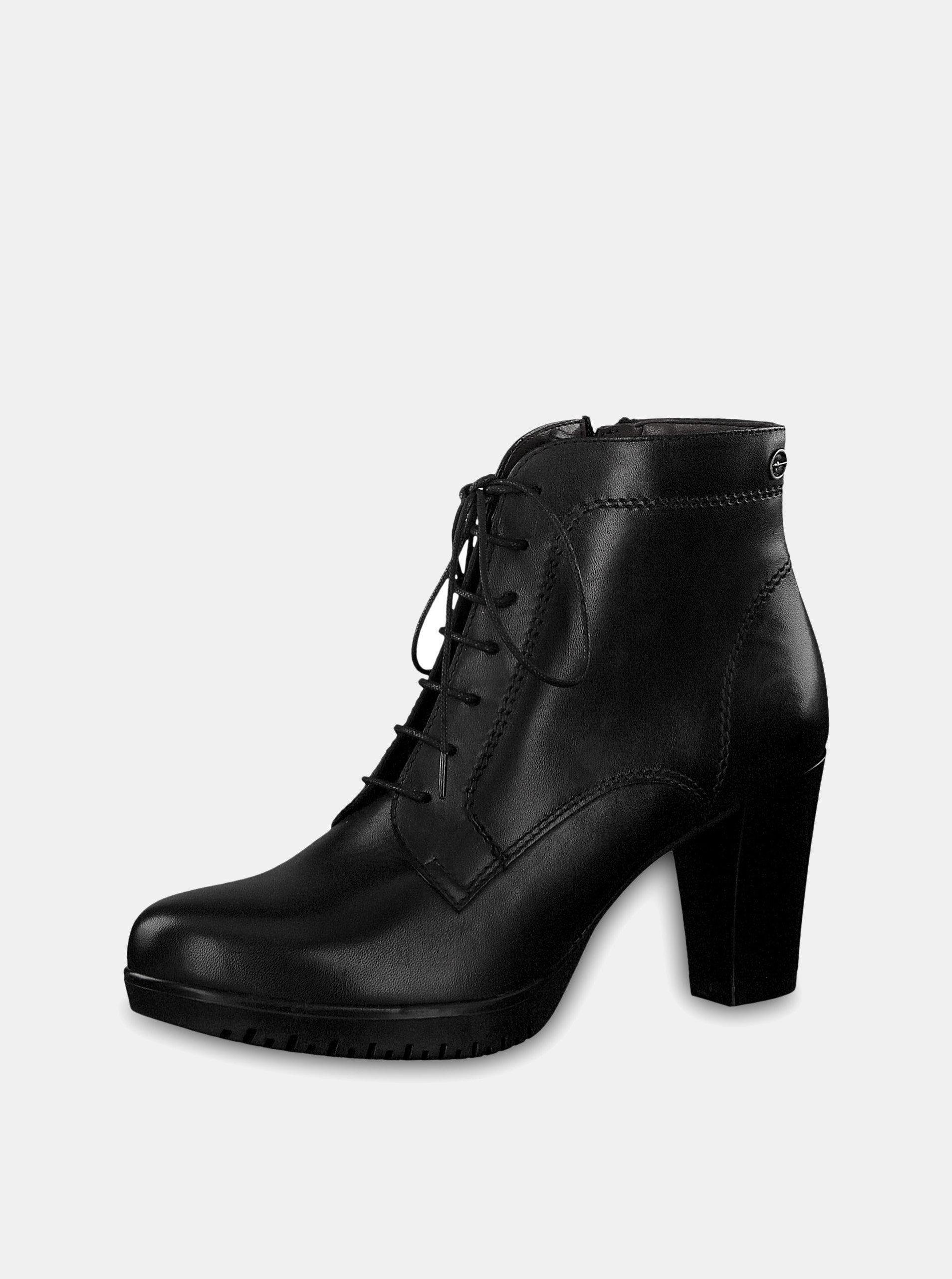 Čierne kožené členkové topánky na vysokom podpätku so šnurovaním Tamaris ... da5a4c07ed6