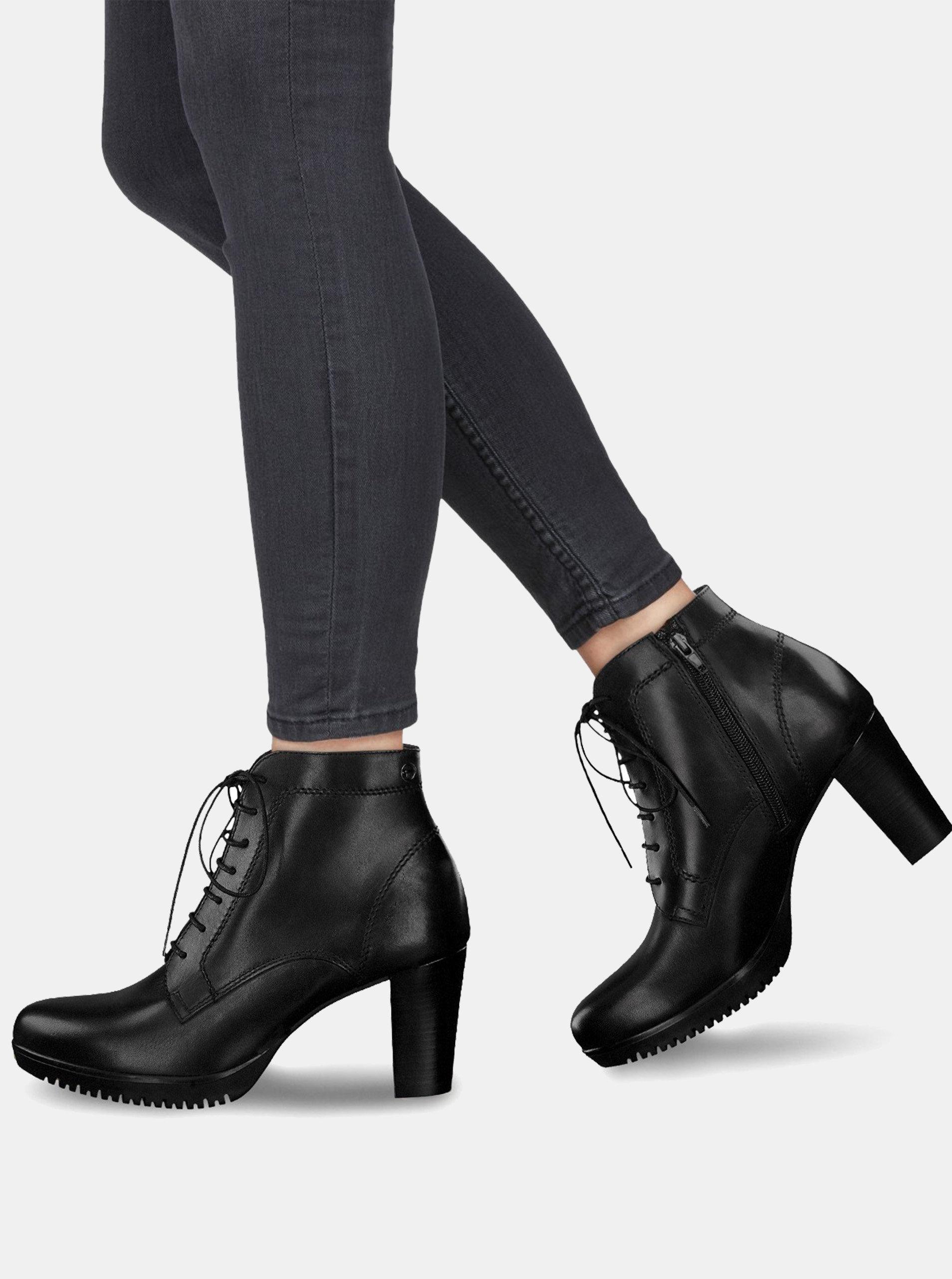 372d4ee6f9 Čierne kožené členkové topánky na vysokom podpätku so šnurovaním Tamaris ...