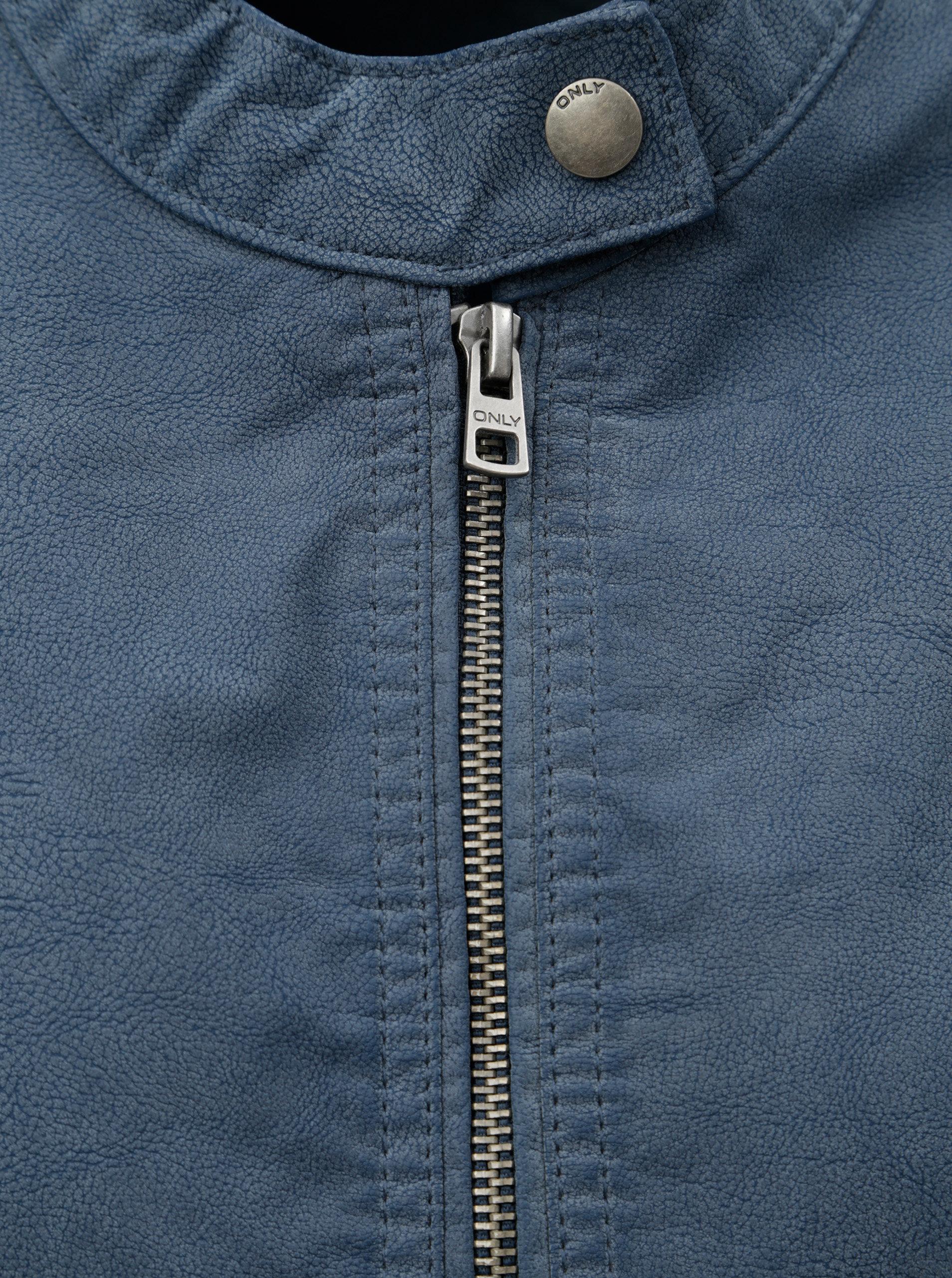 a37a8efaa34 Modrá koženková bunda s detailmi v striebornej farbe ONLY Saga ...
