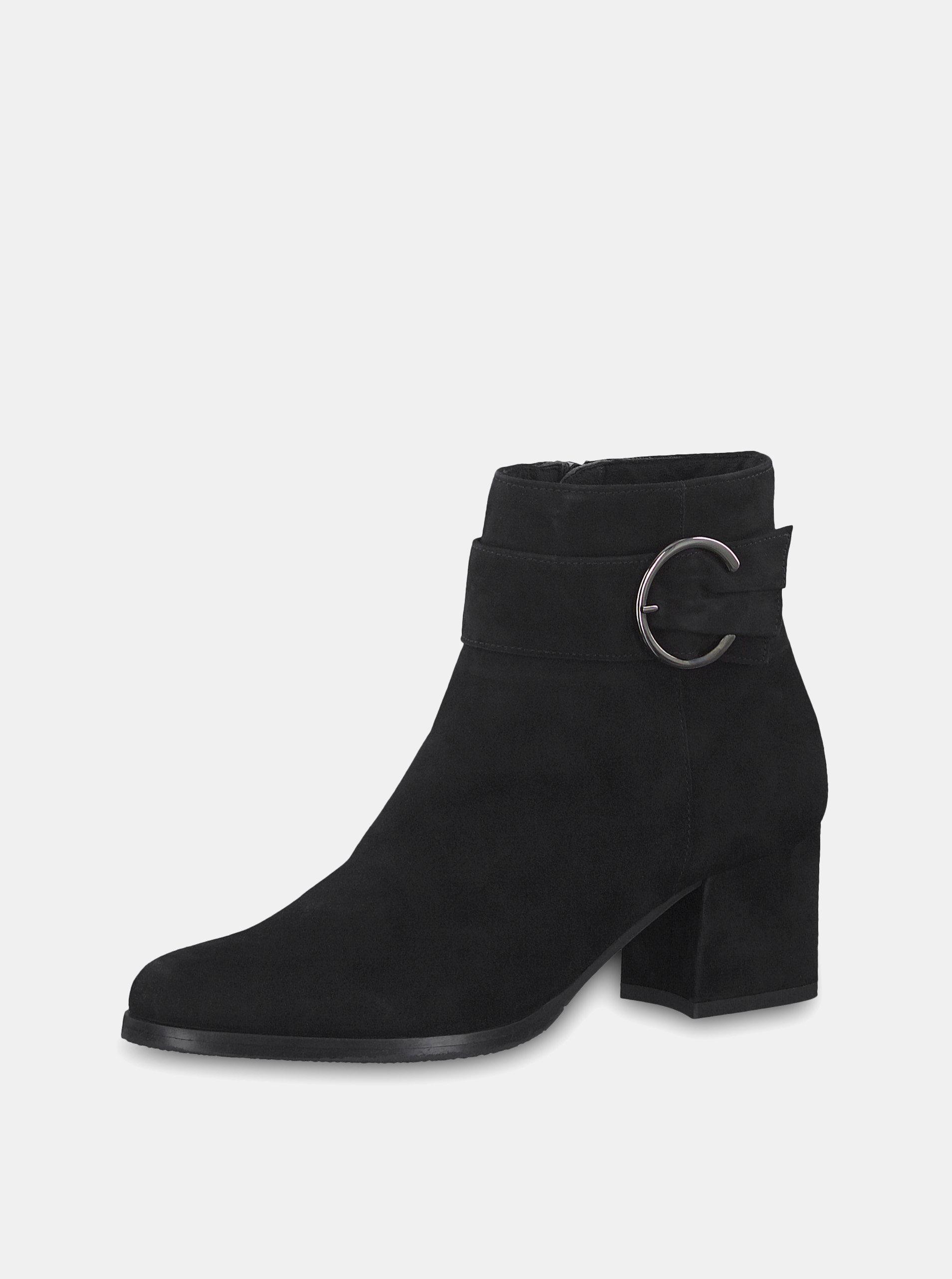351b77415 Čierne semišové členkové topánky na podpätku s ozdobnou prackou Tamaris ...