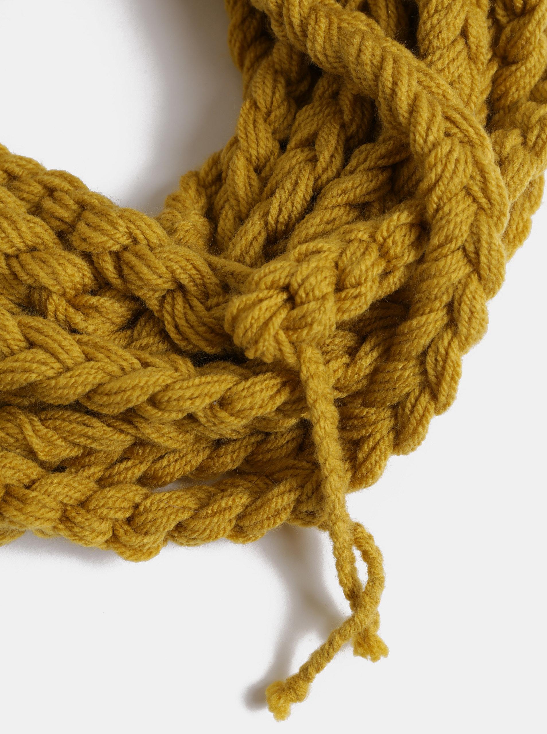 Hořčicová dámská pletená šála DOKE ... 9274d5851e