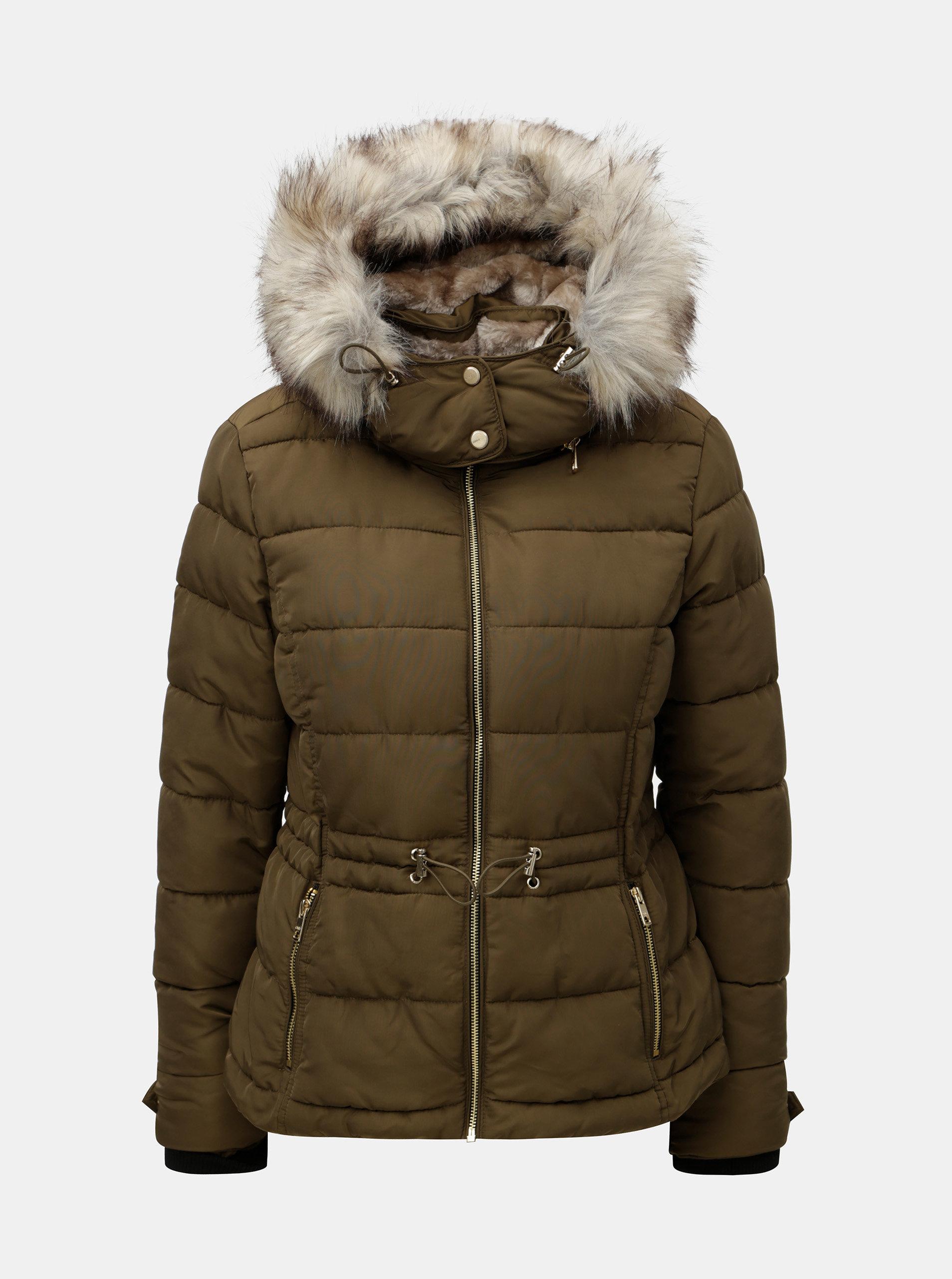 5f9f0a192c Kaki prešívaná zimná bunda s umelou kožušinkou ONLY Vigga ...