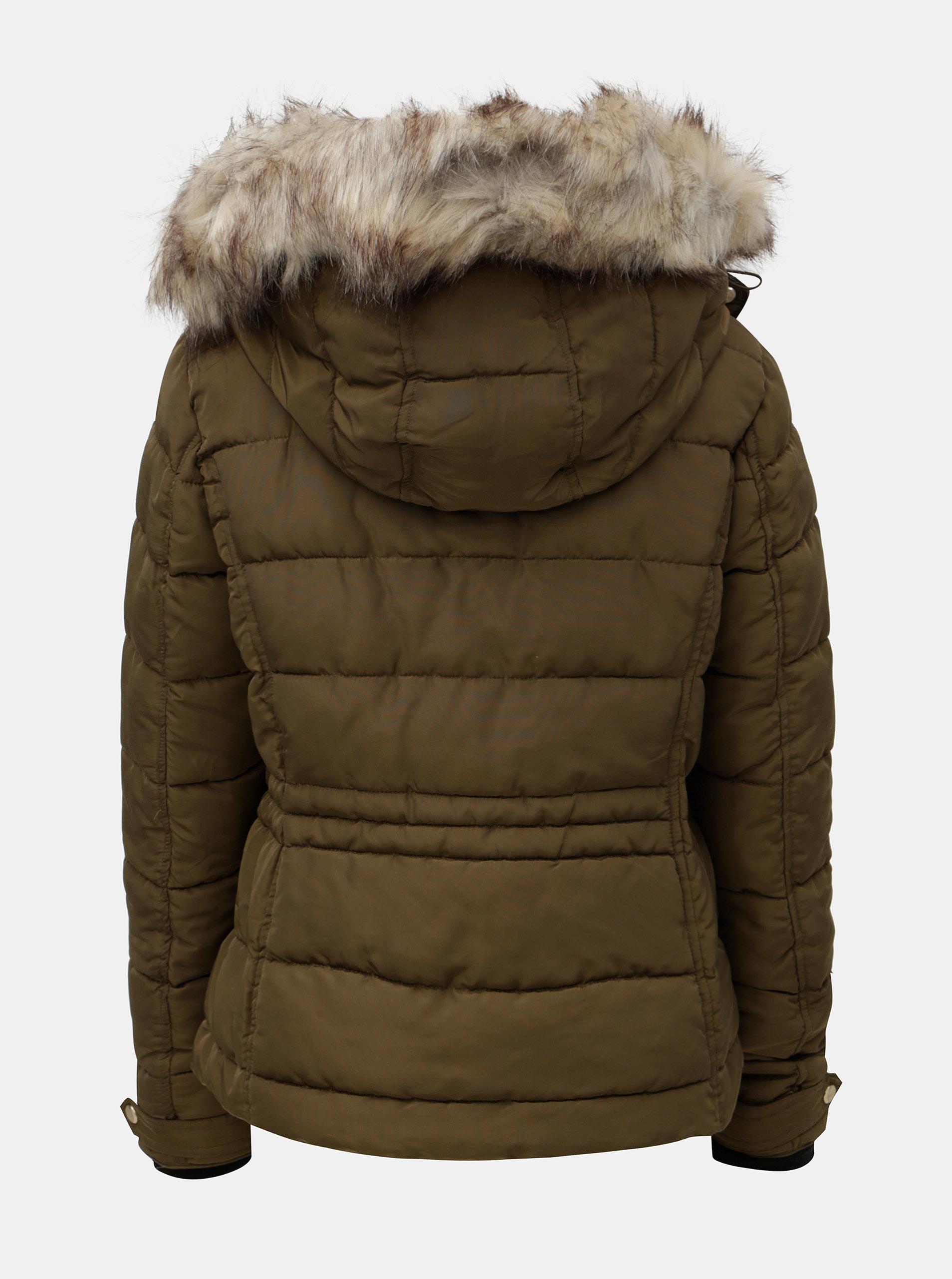 Kaki prešívaná zimná bunda s umelou kožušinkou ONLY Vigga ... b63e8123599