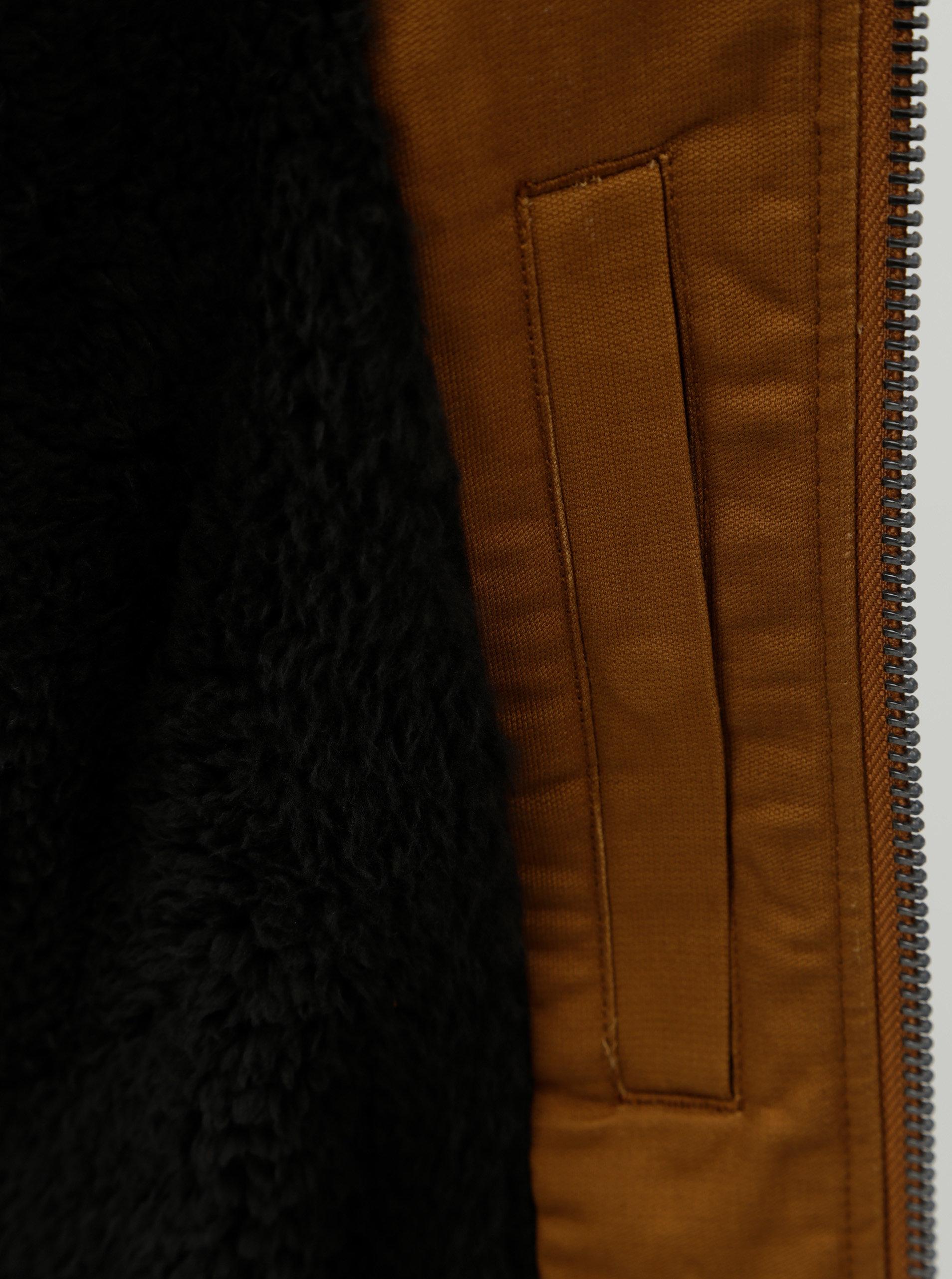 0ccac20919b Hnědá pánská nepromokavá bunda s kapucí a zateplenou podšívkou Quiksilver  Hanago ...