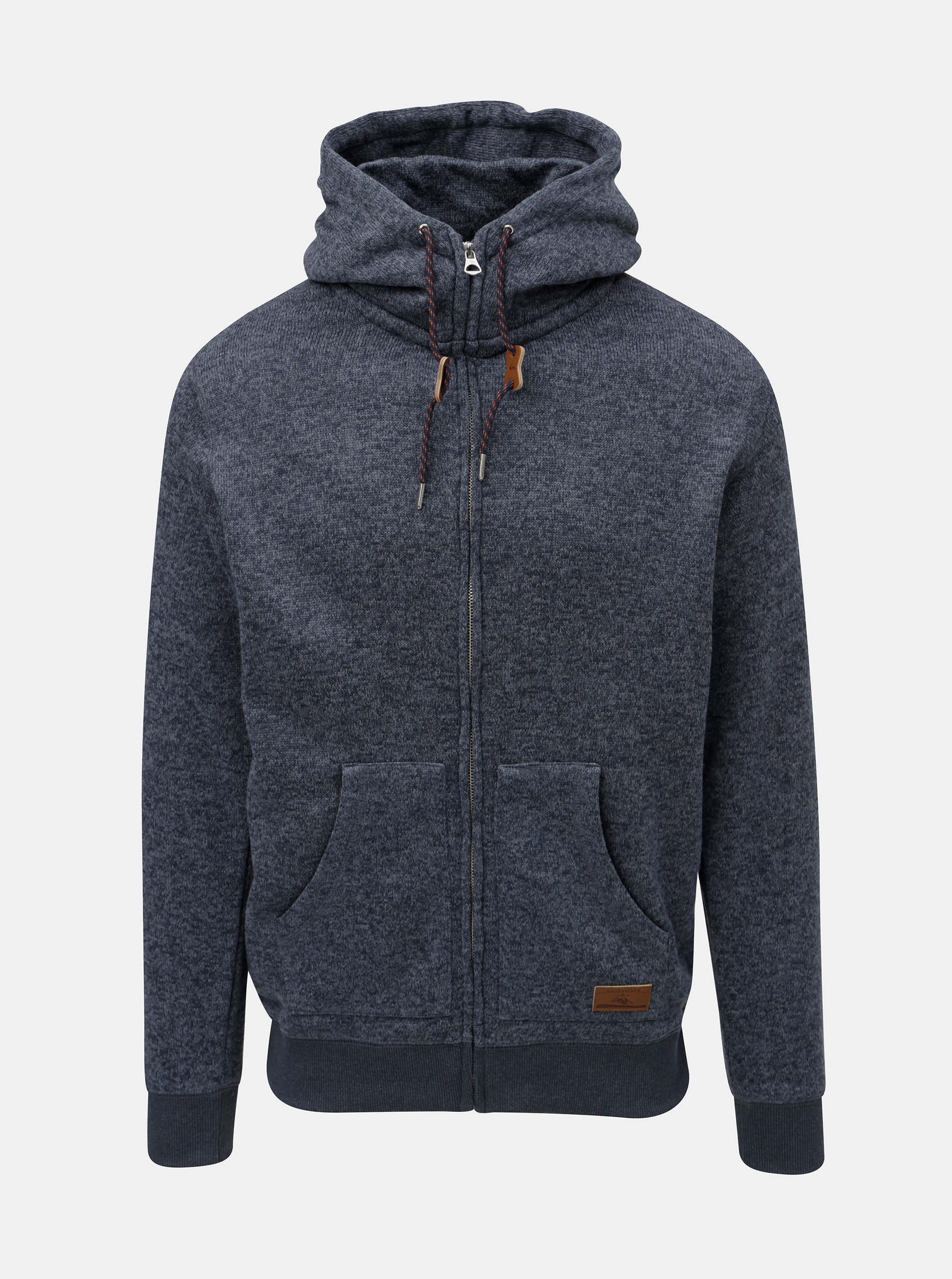 Modrý pánský žíhaný svetr s kapucí na zip Quiksilver Keller ... c19a4bf836