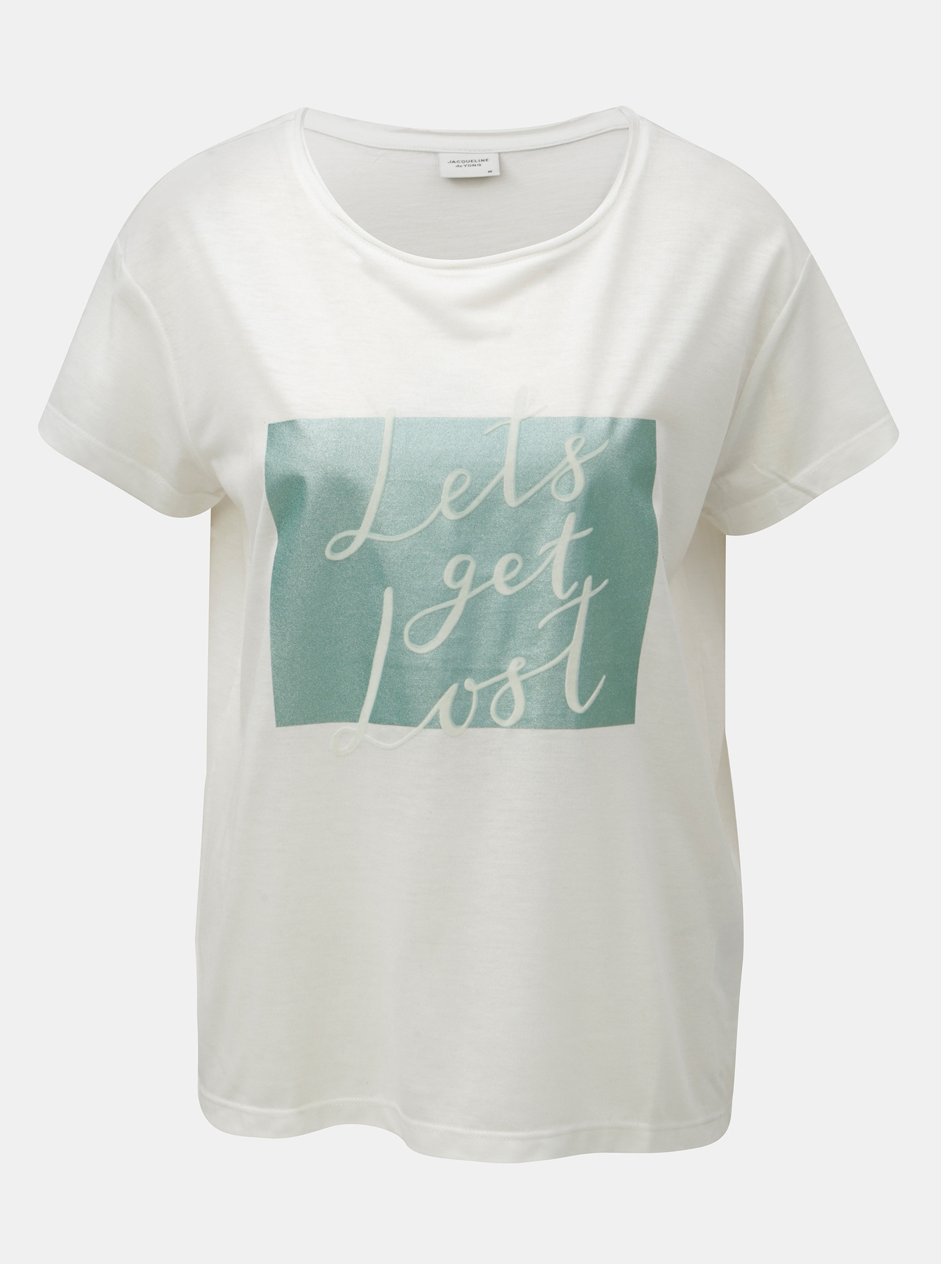 cdf9c9b4125d Biele tričko s potlačou a semišovým nápisom Jacqueline de Yong Roa ...