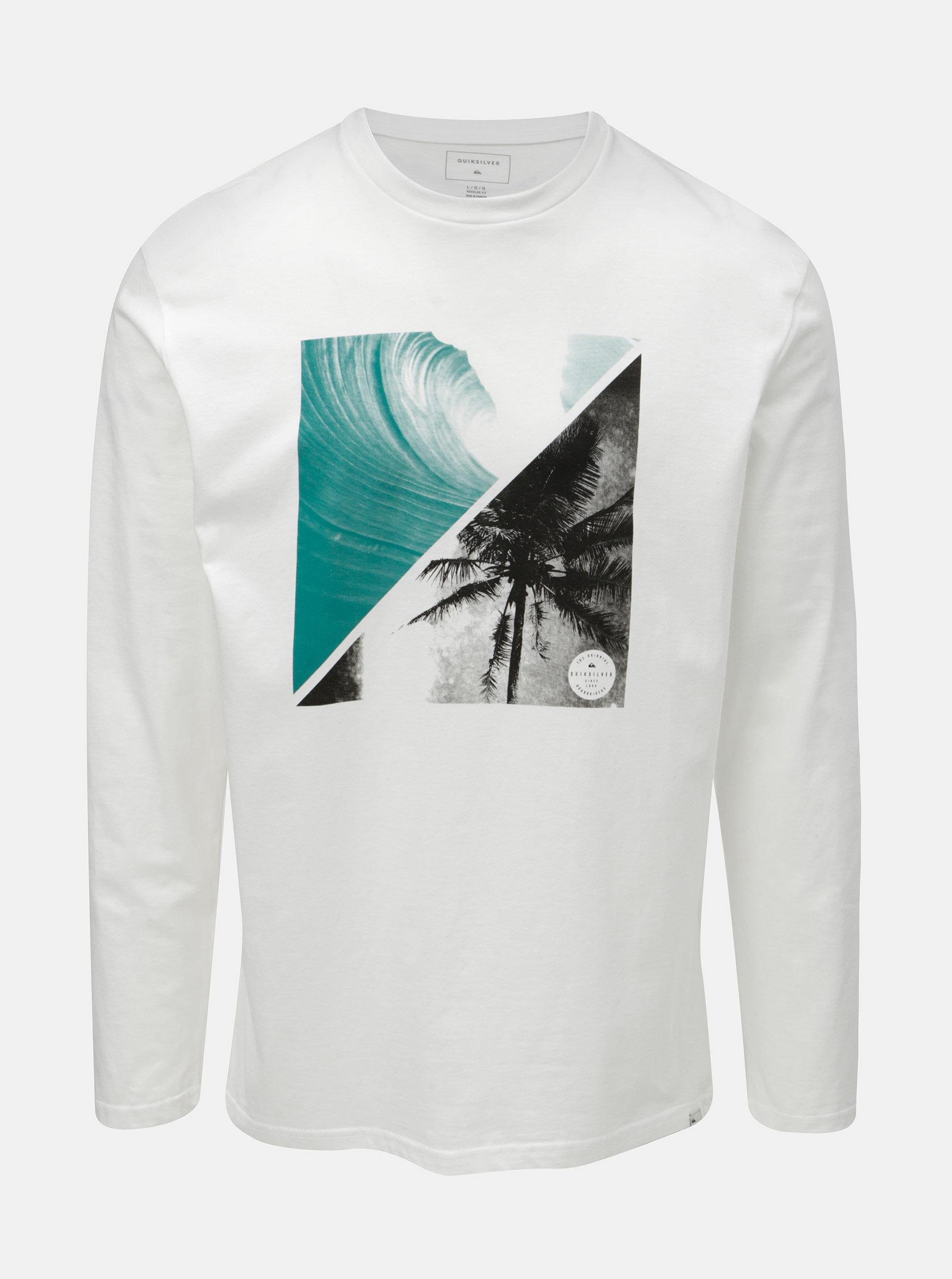 Bílé pánské regular fit tričko s dlouhým rukávem a potiskem Quiksilver  Colon ... d0f30999cc
