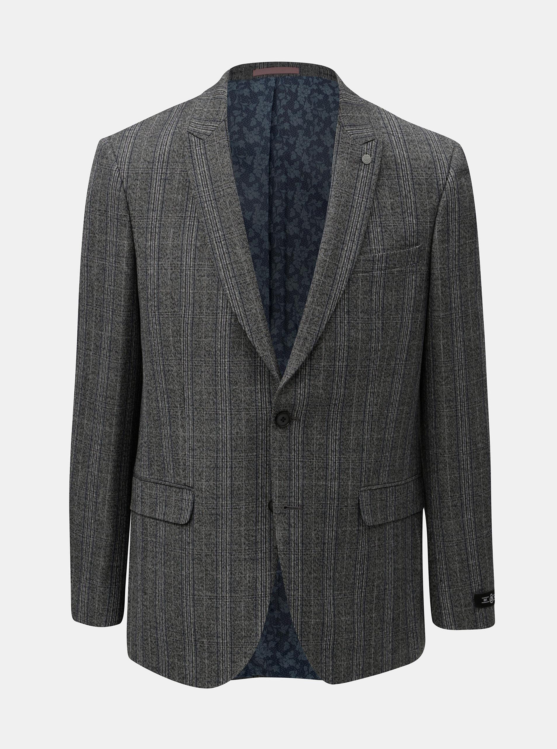 49b4b8b908 Sivé kockované oblekové sako Burton Menswear London Pow ...