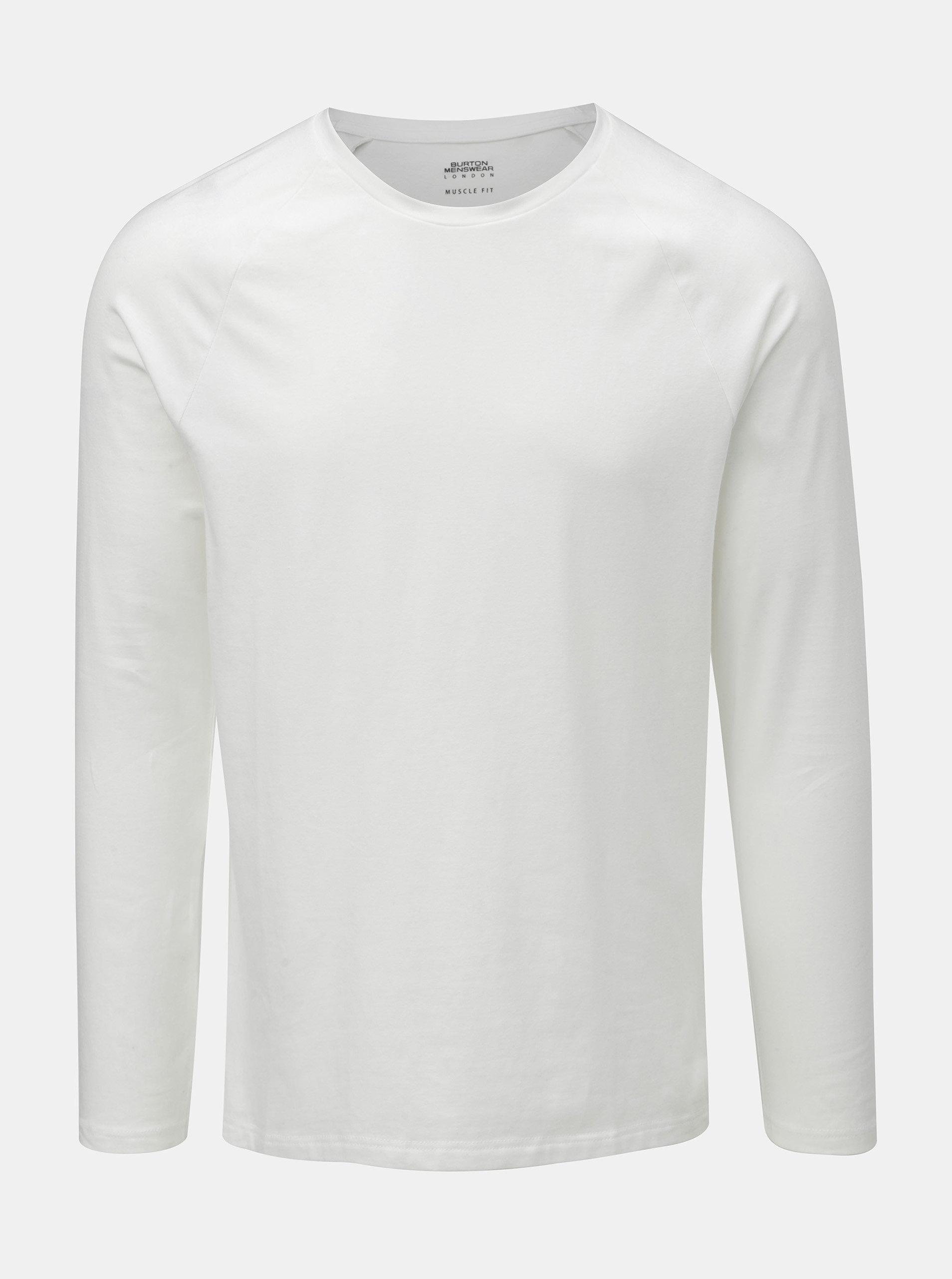 953f47a6a6a6 Biele basic muscle fit tričko s dlhým rukávom Burton Menswear London ...