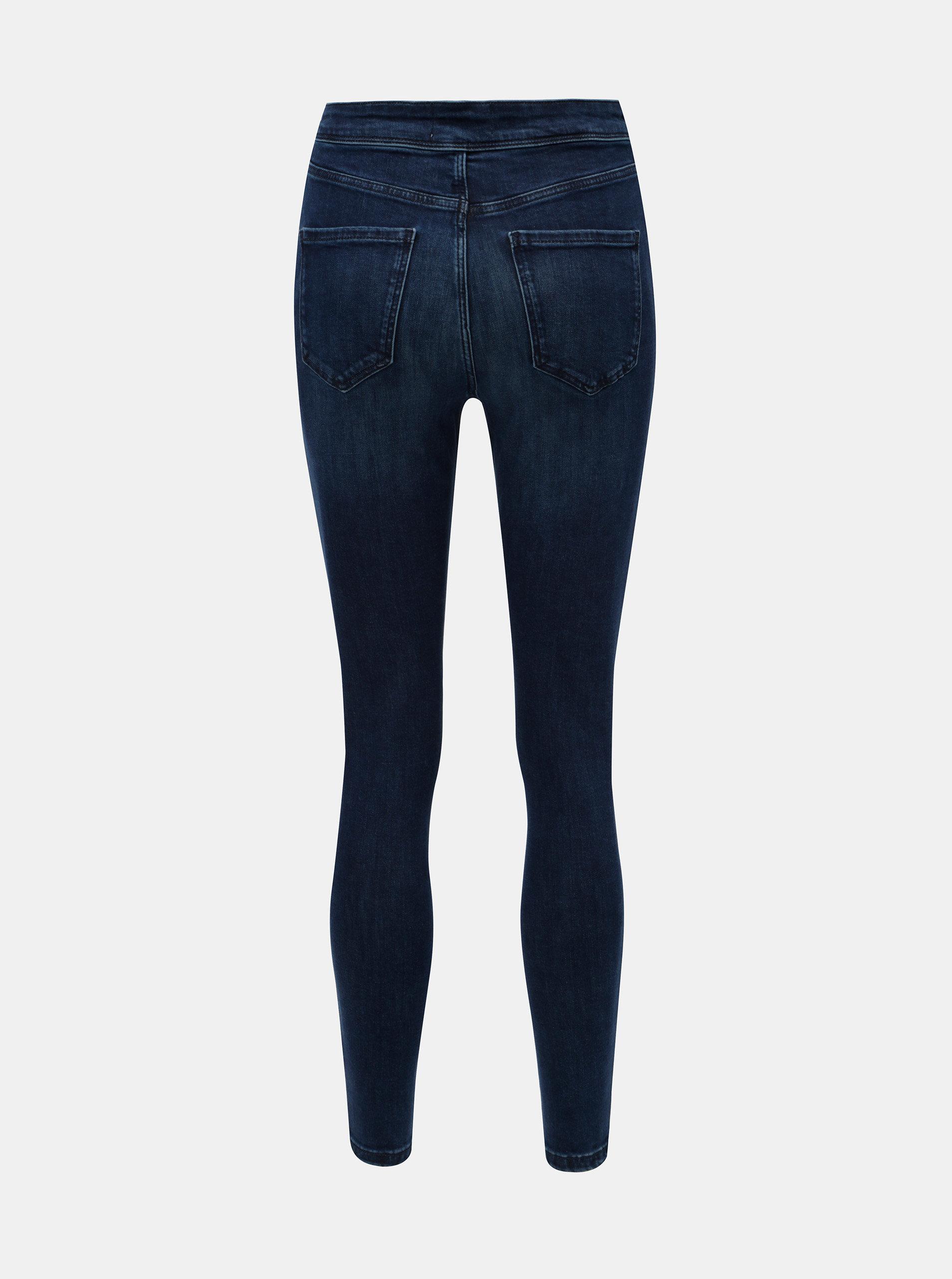 Tmavě modré skinny džíny s vysokým pasem Miss Selfridge ... 3e19f4e5e1
