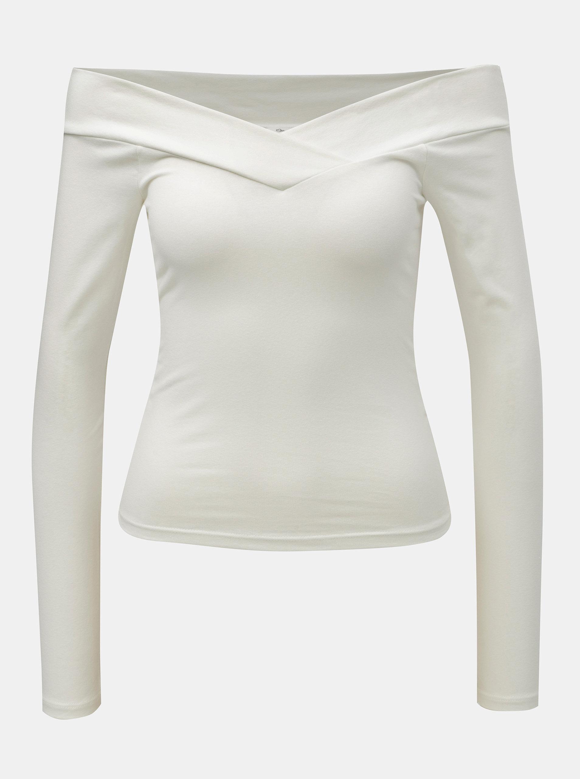 99bc1dc2cf Biele krátke tričko s odhalenými ramenami Miss Selfridge Cross Over Bardot  ...