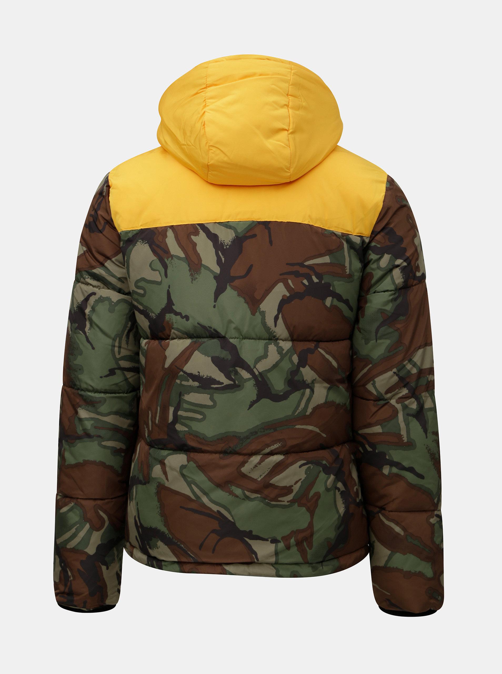00d0bc5787d Zeleno-hnědá pánská zimní maskáčová bunda s umělým kožíškem v kapuci  Superdry Expedition ...