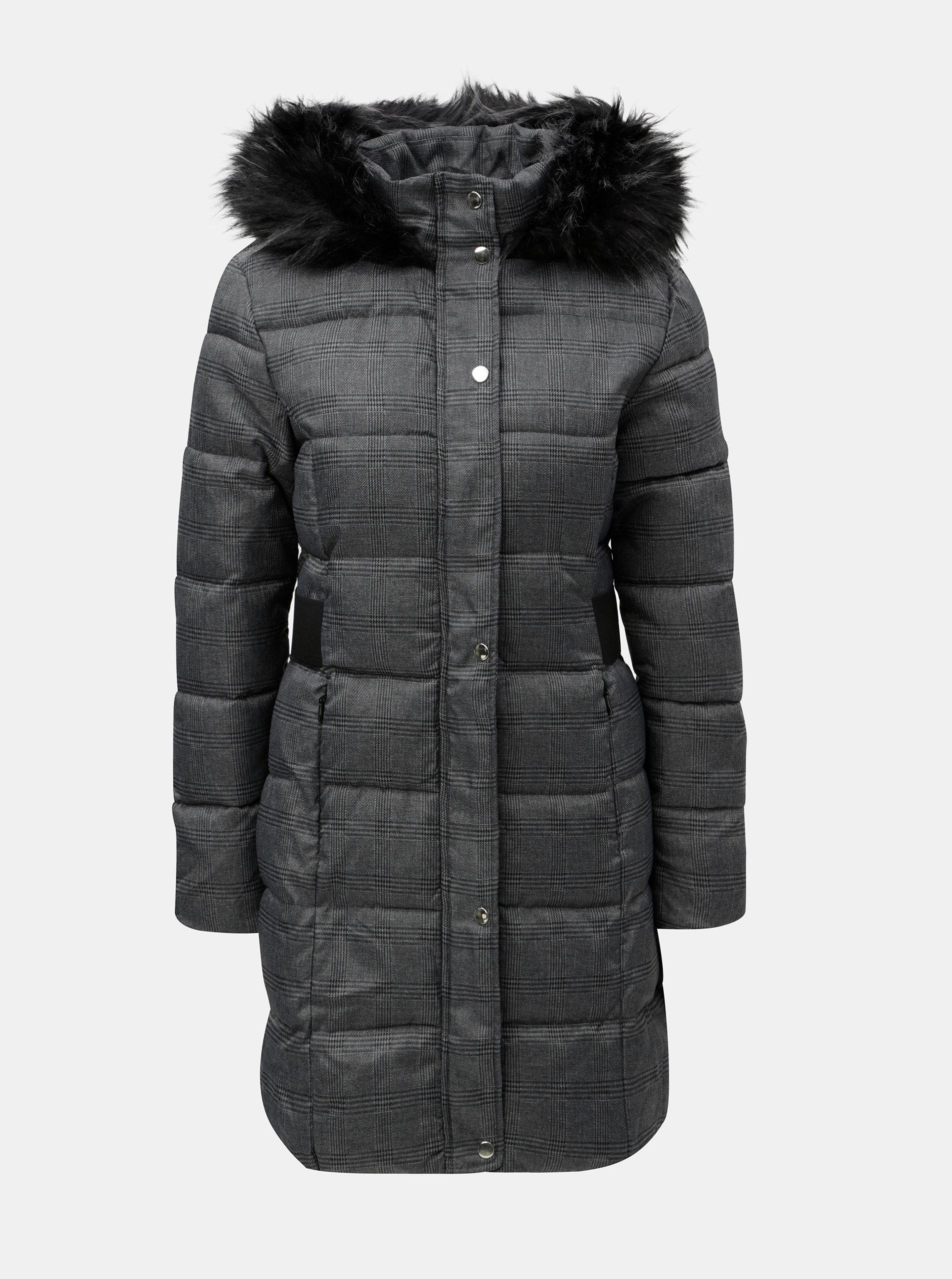 32e54d1ab2 Sivý kockovaný zimný kabát s umelou kožušinkou na kapucni Dorothy Perkins  ...