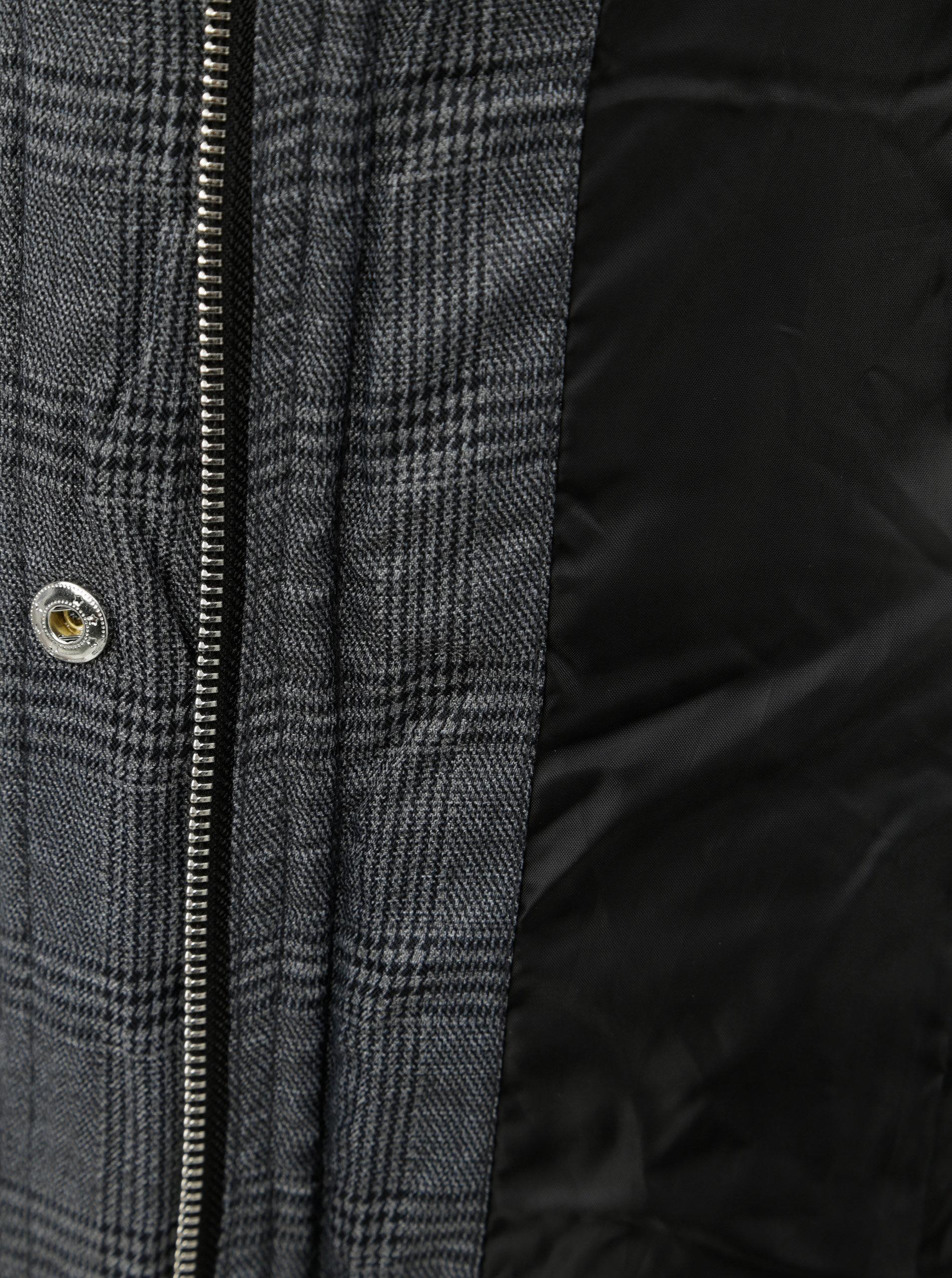 3469097a55 Sivý kockovaný zimný kabát s umelou kožušinkou na kapucni Dorothy Perkins