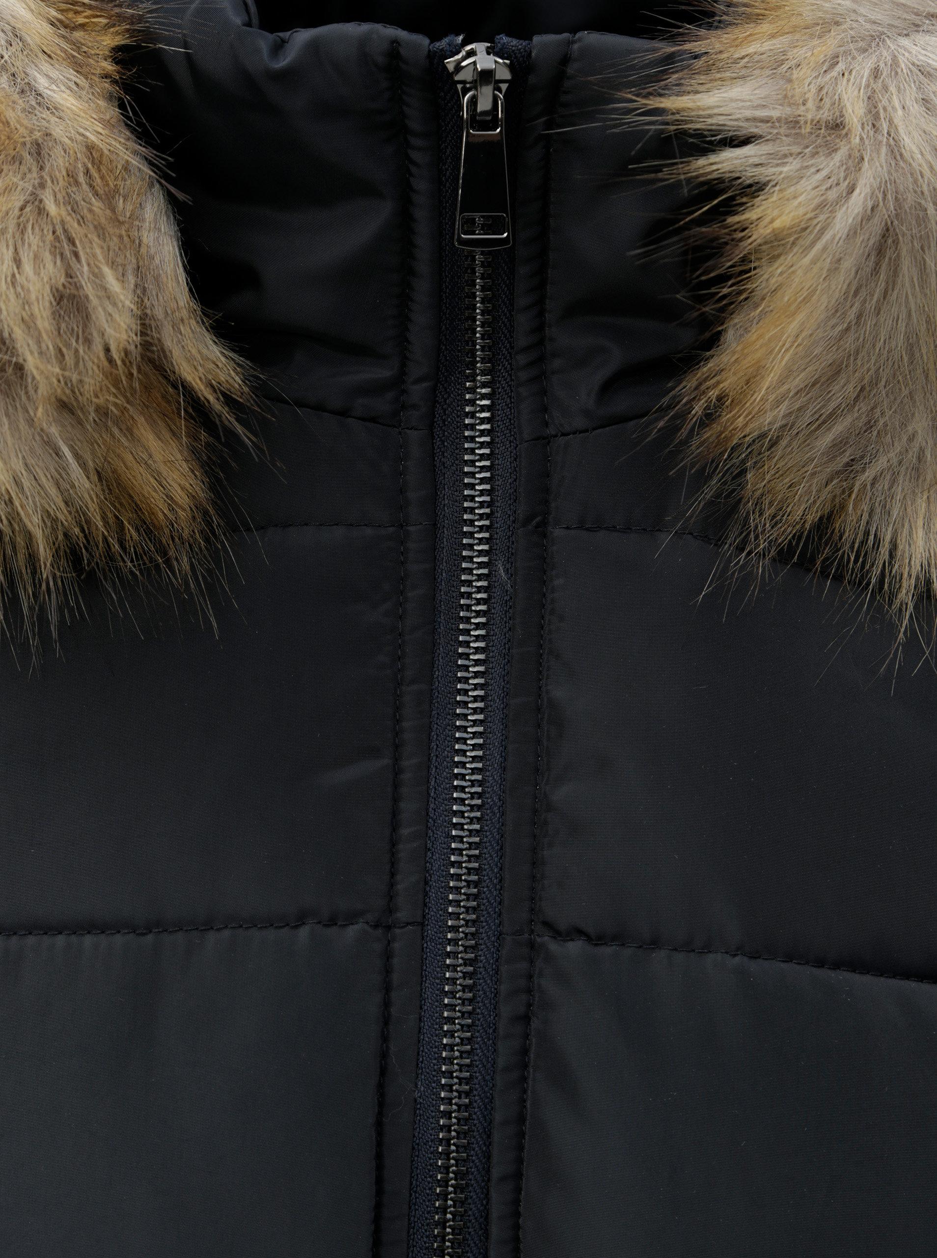 Tmavomodrý prešívaný zimný kabát s odnímateľnou kožušinkou na kapucni  Dorothy Perkins ... 865c7a7a463