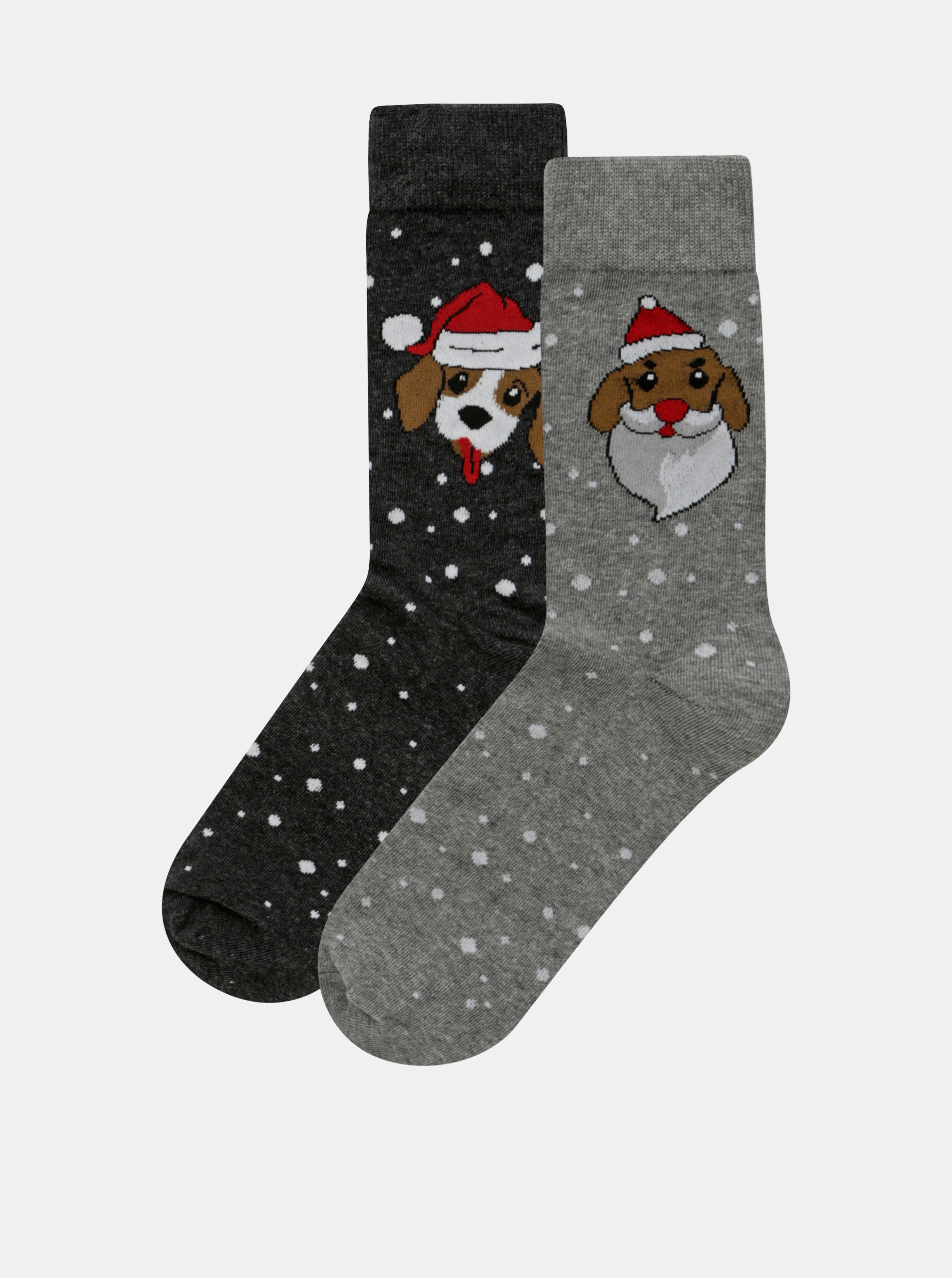 55cb9acfdf2 Sada dvou párů ponožek a boxerek s vánočním motivem v šedé a modré barvě  Jack   Jones ...