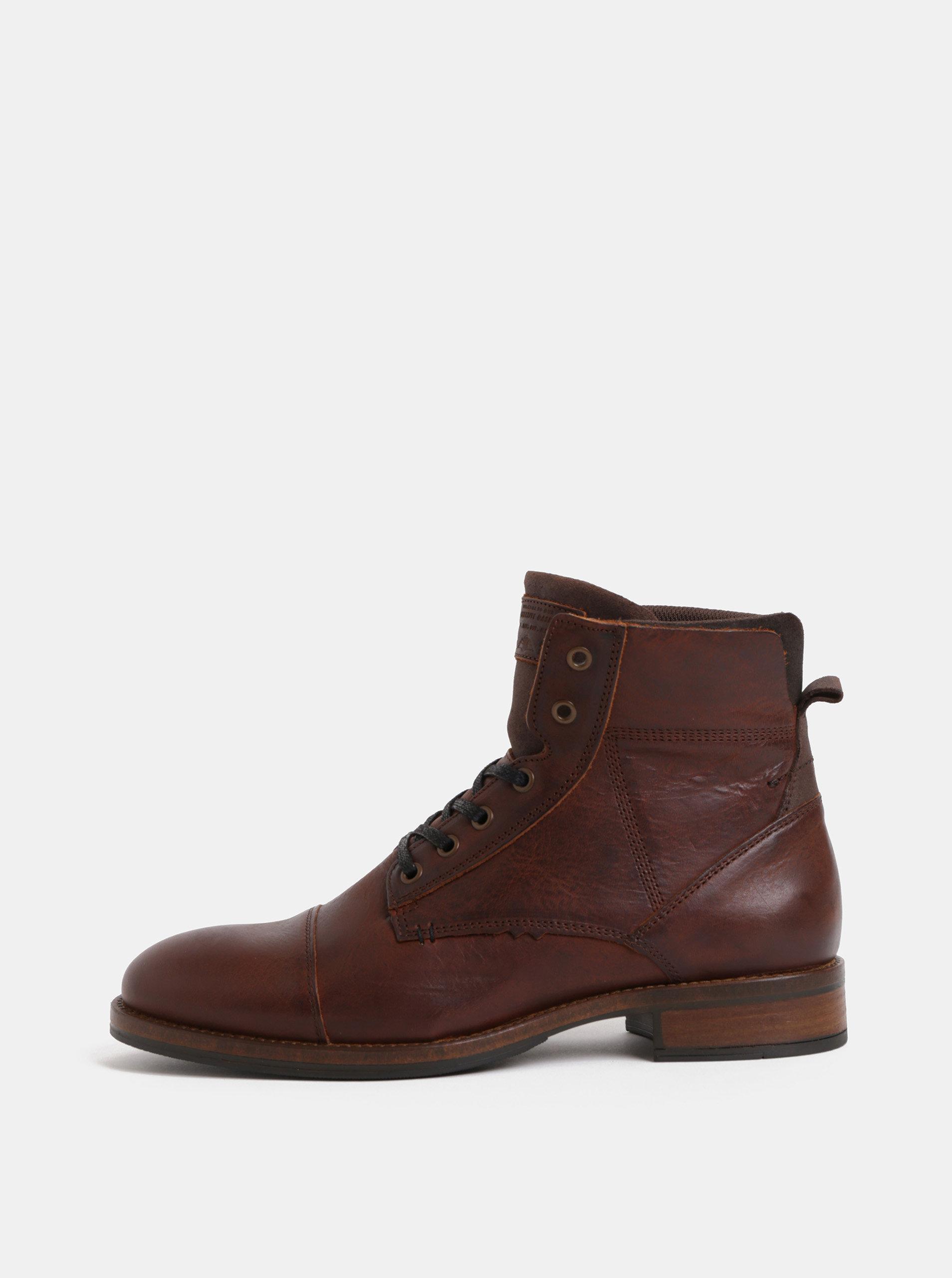 a8fbf7aef6cb Hnedé pánske kožené členkové topánky Bullboxer ...