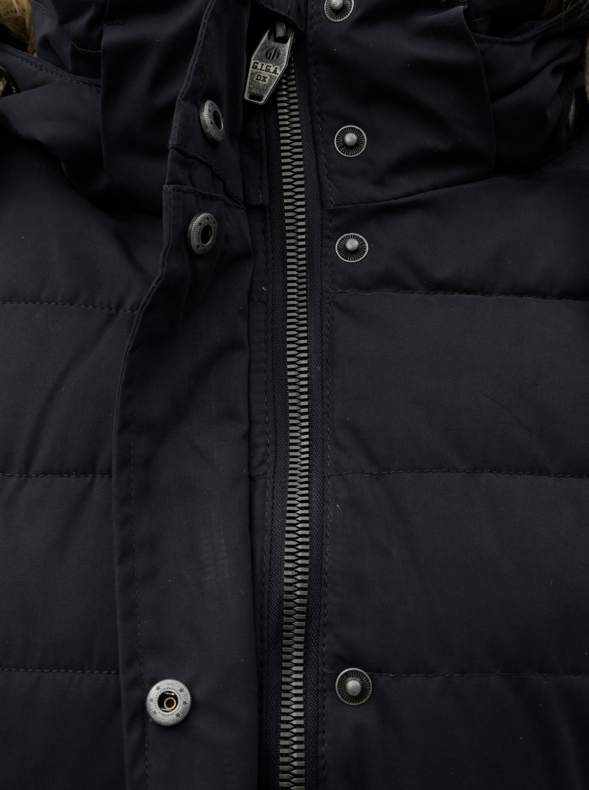 Tmavomodrý dámsky zimný prešívaný nepremokavý kabát s umelou kožušinkou  killtec Hawana ... 433edce283e