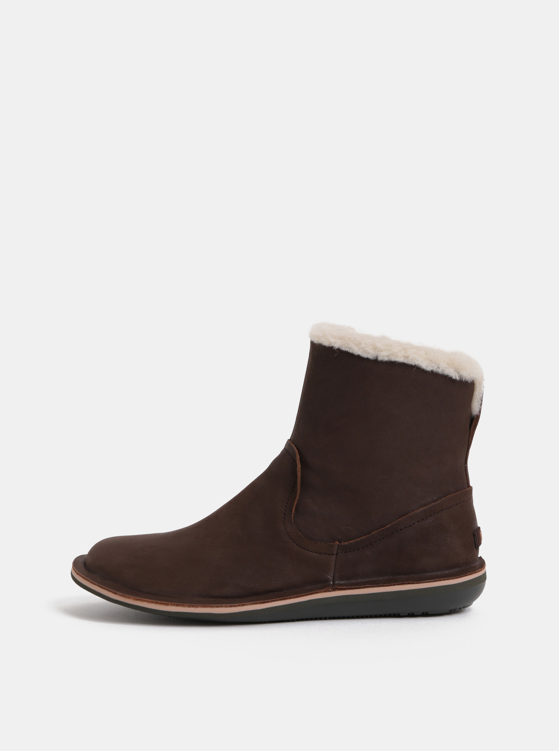 Hnědé dámské kožené boty s vnitřním umělým kožíškem Camper Betle ... 849d97e8fb