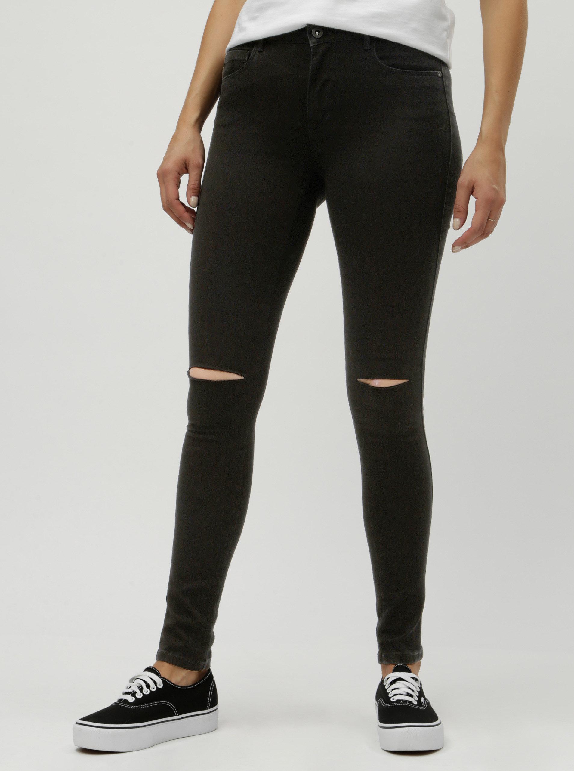 Černé skinny džíny s dírami na kolenou ONLY Royal Reg ... 97dffef916