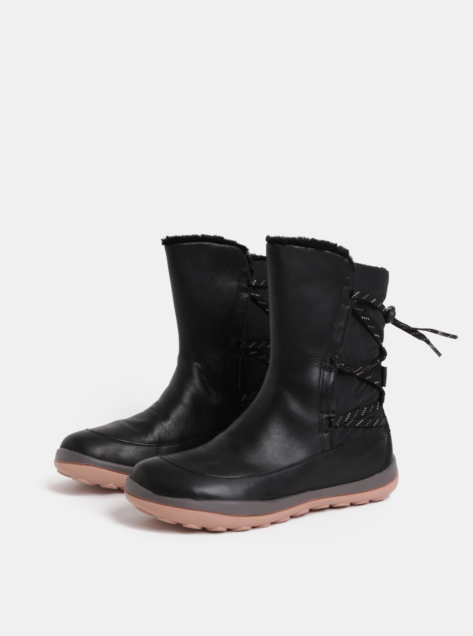 468630d76c05f Čierne dámske kožené členkové topánky s vnútornou umelou kožušinkou Camper  Peu Pista ...