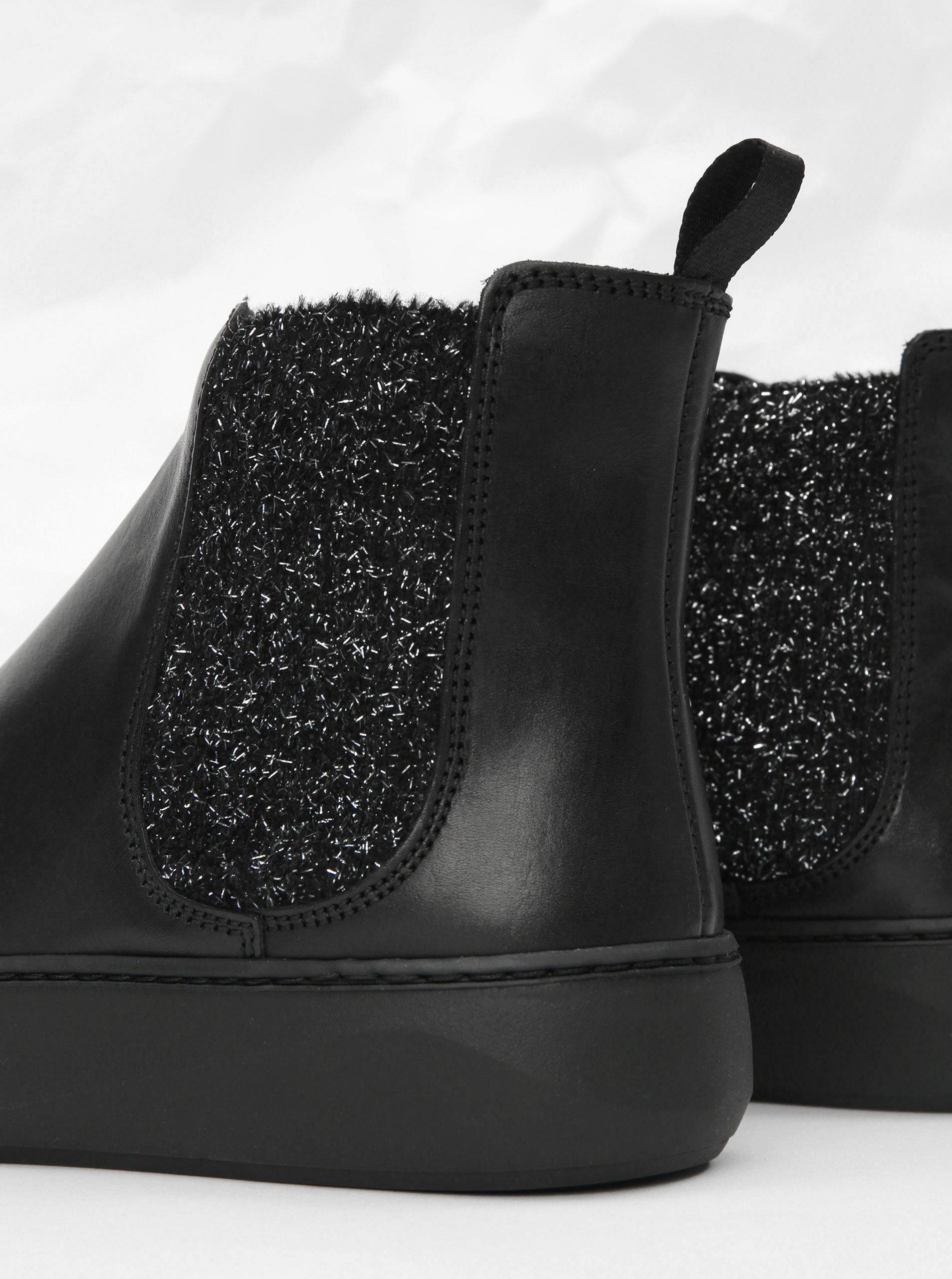 931845bb2c81 Čierne kožené chelsea topánky na platforme s trblietavým detailom Frau  Ferrer ...