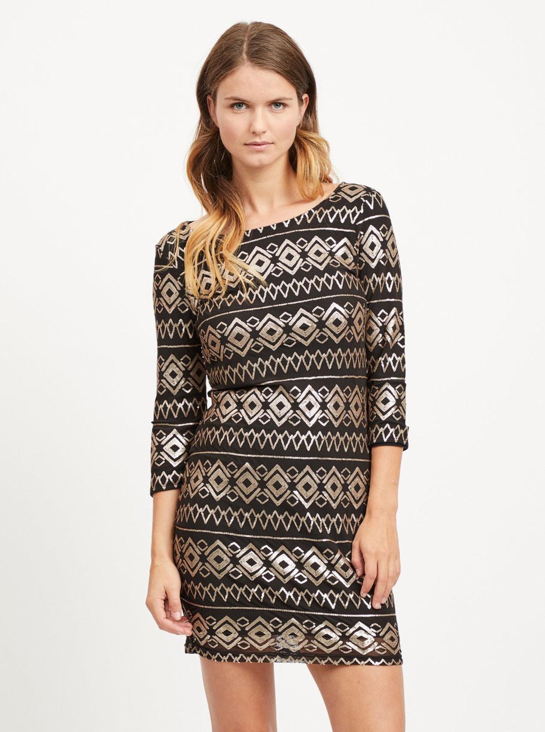 5c27ab1deae6 Čierne šaty s 3 4 rukávom a flitrami v zlatej farbe VILA Vibeada ...