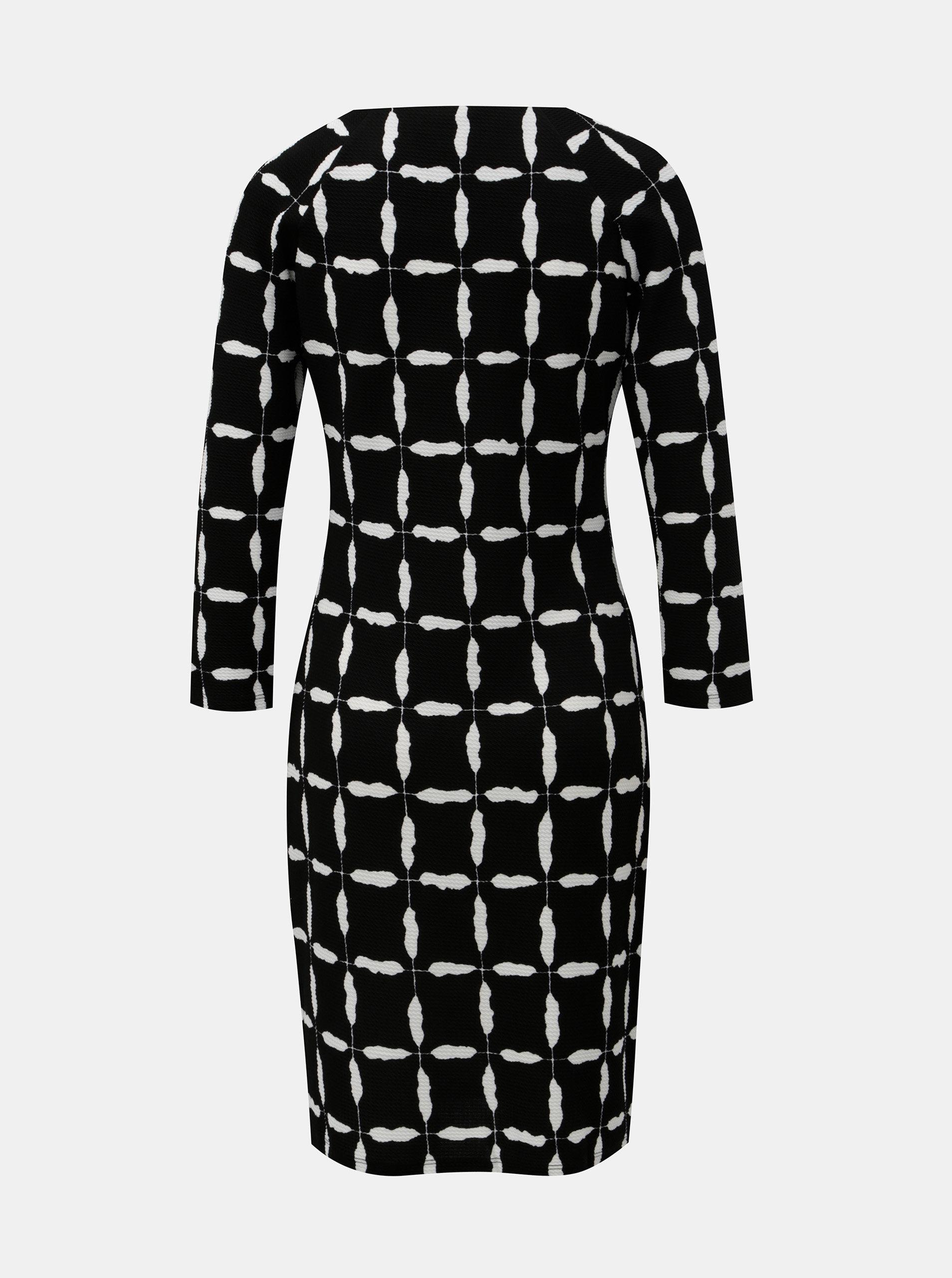 4e5c29f820e2 Bielo–čierne vzorované šaty so zipsami v dekolte Smashed Lemon ...