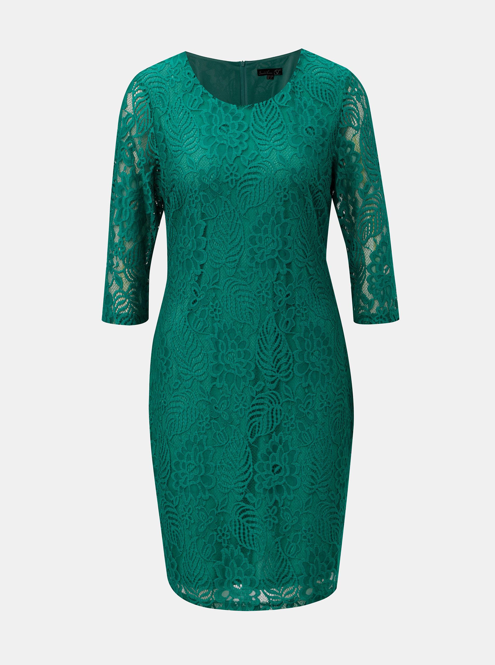 9e164778a1fc Zelené čipkované šaty s 3 4 rukávom Smashed Lemon ...