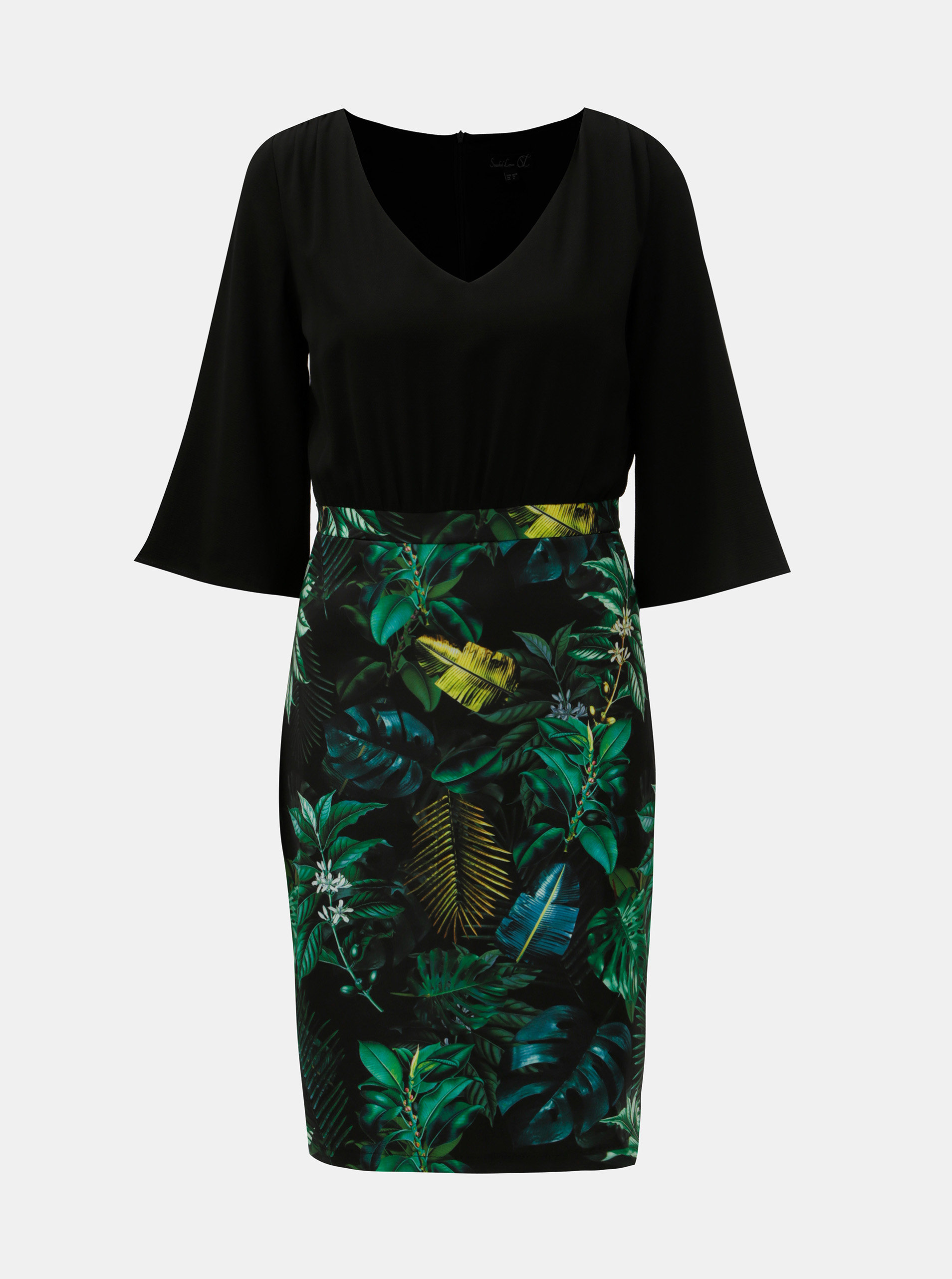 Zeleno–čierne puzdrové šaty s motívom listov Smashed Lemon ... a8d3304a69b