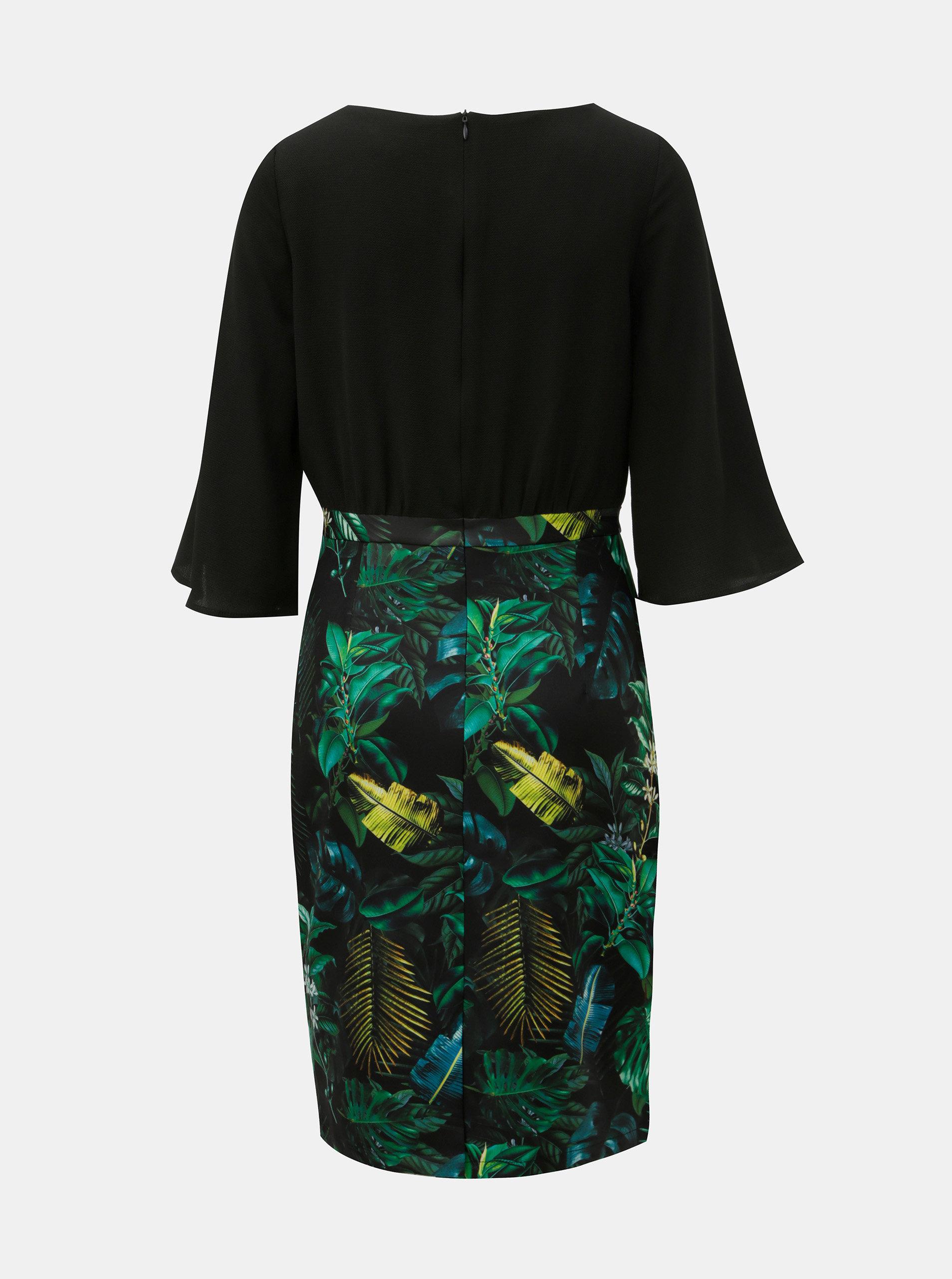 Zeleno-černé pouzdrové šaty s motivem listů Smashed Lemon ... 85160db996