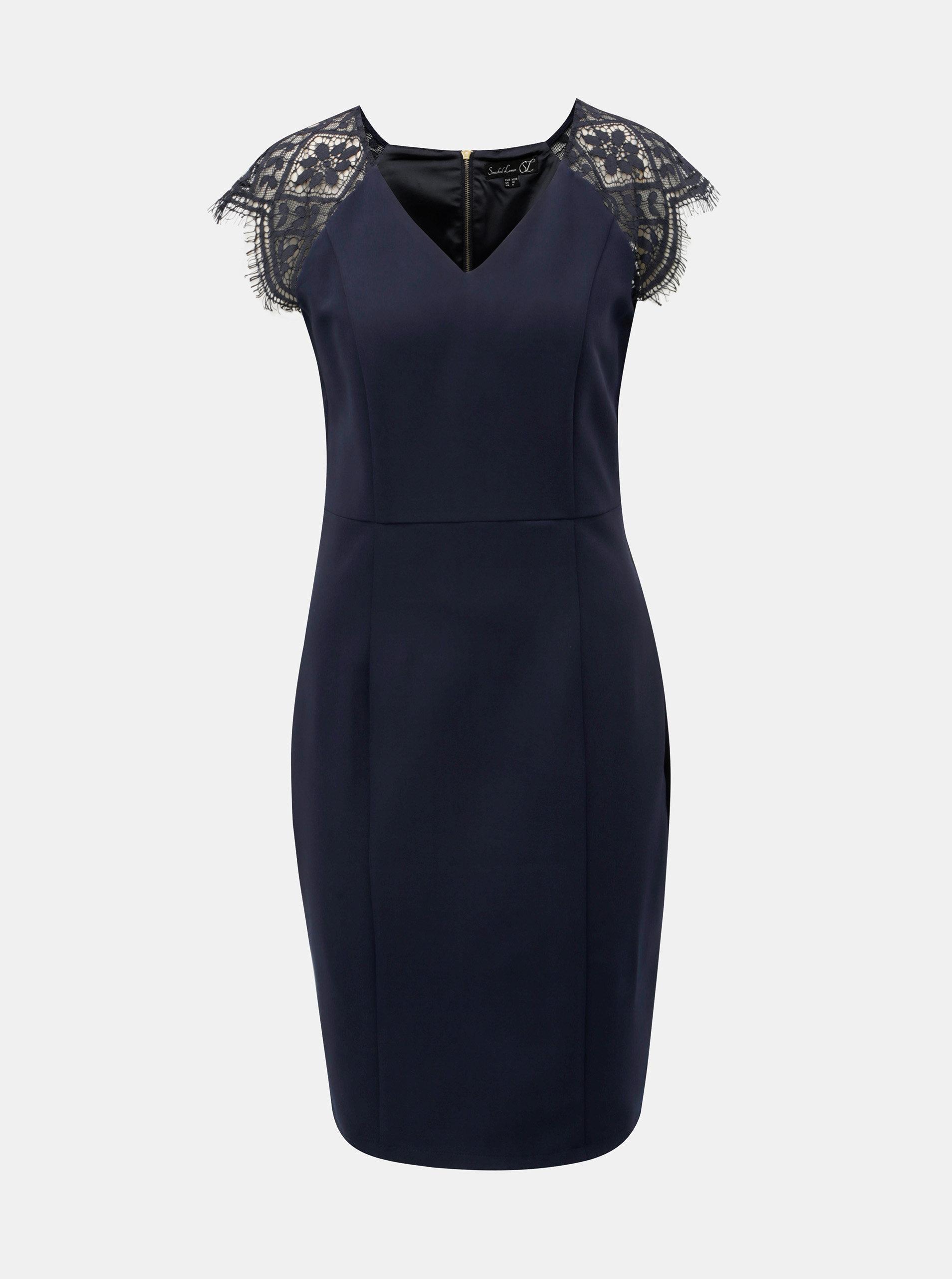 8fb595da43a Tmavě modré pouzdrové šaty s krajkou Smashed Lemon ...