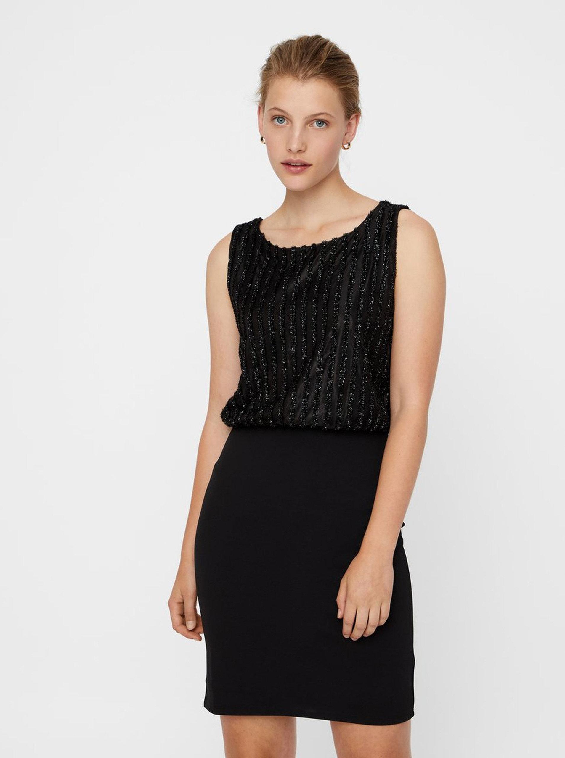 Čierne puzdrové šaty so zdobením VERO MODA Shane ... fcd39305140