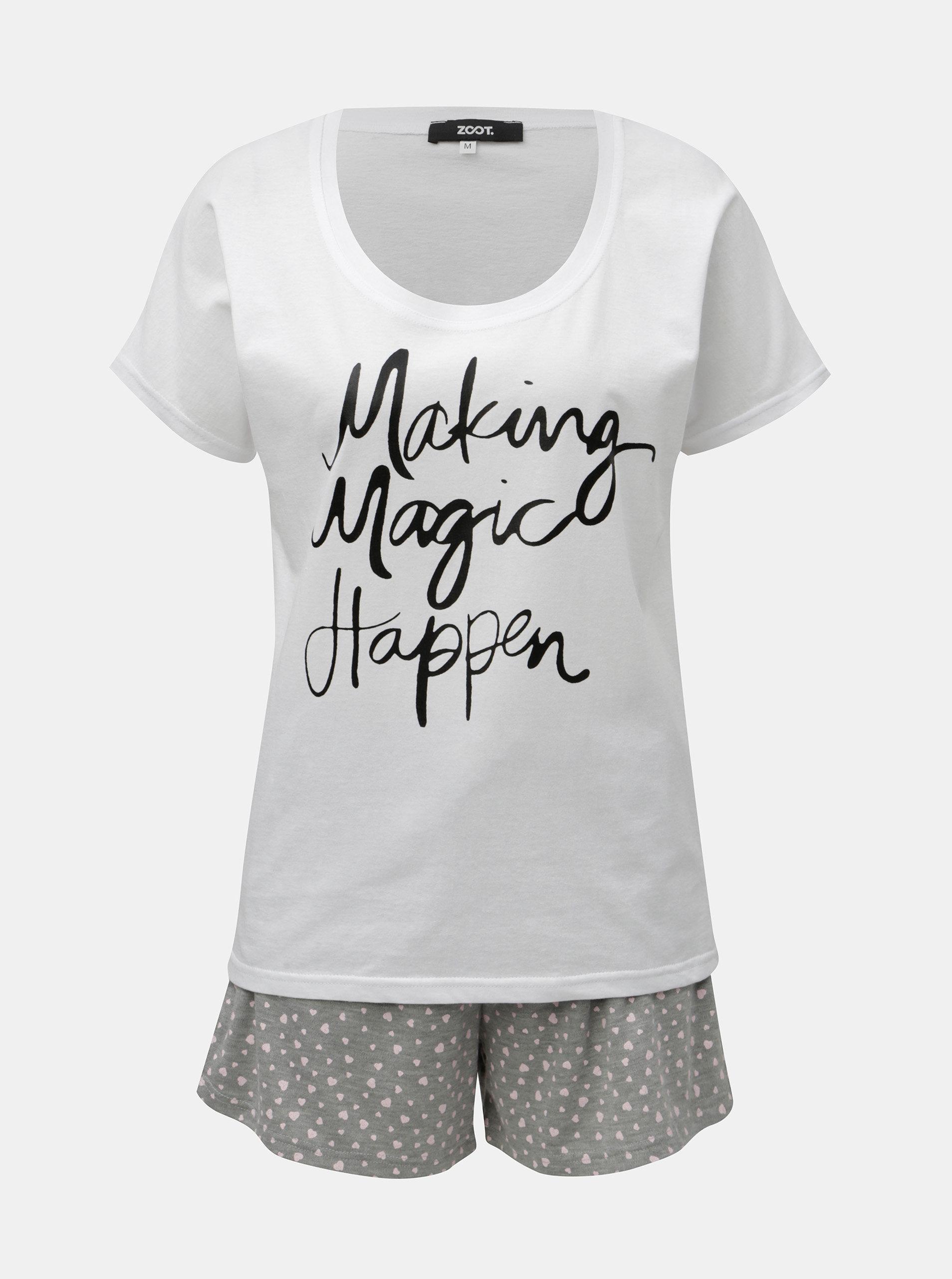 3a49826c0 Sivo–biele dámske dvojdielne pyžamo s potlačou ZOOT   ZOOT.sk