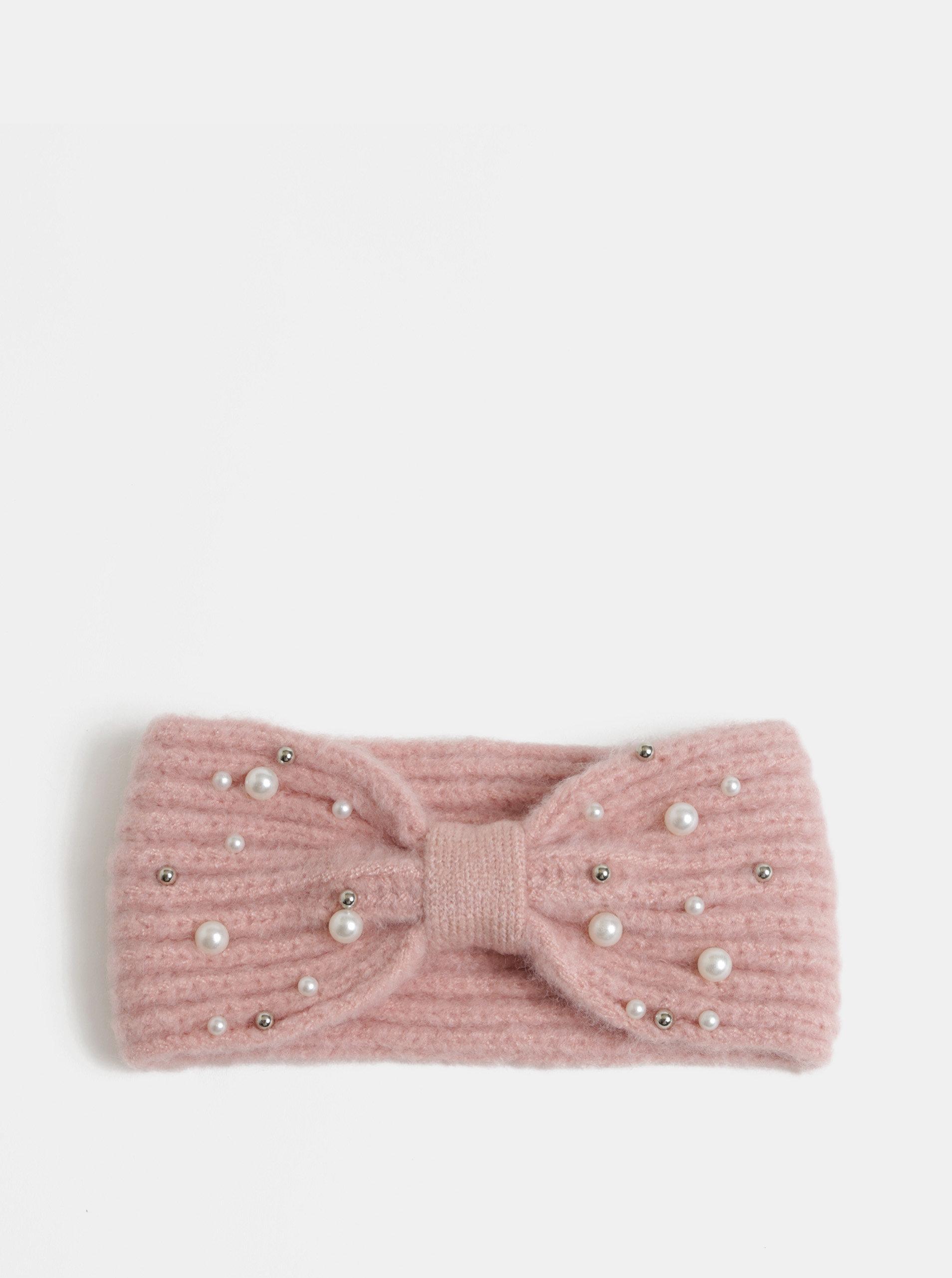 Světle růžová zimní čelenka s perličkami Pieces Felia ... ae9431cf89