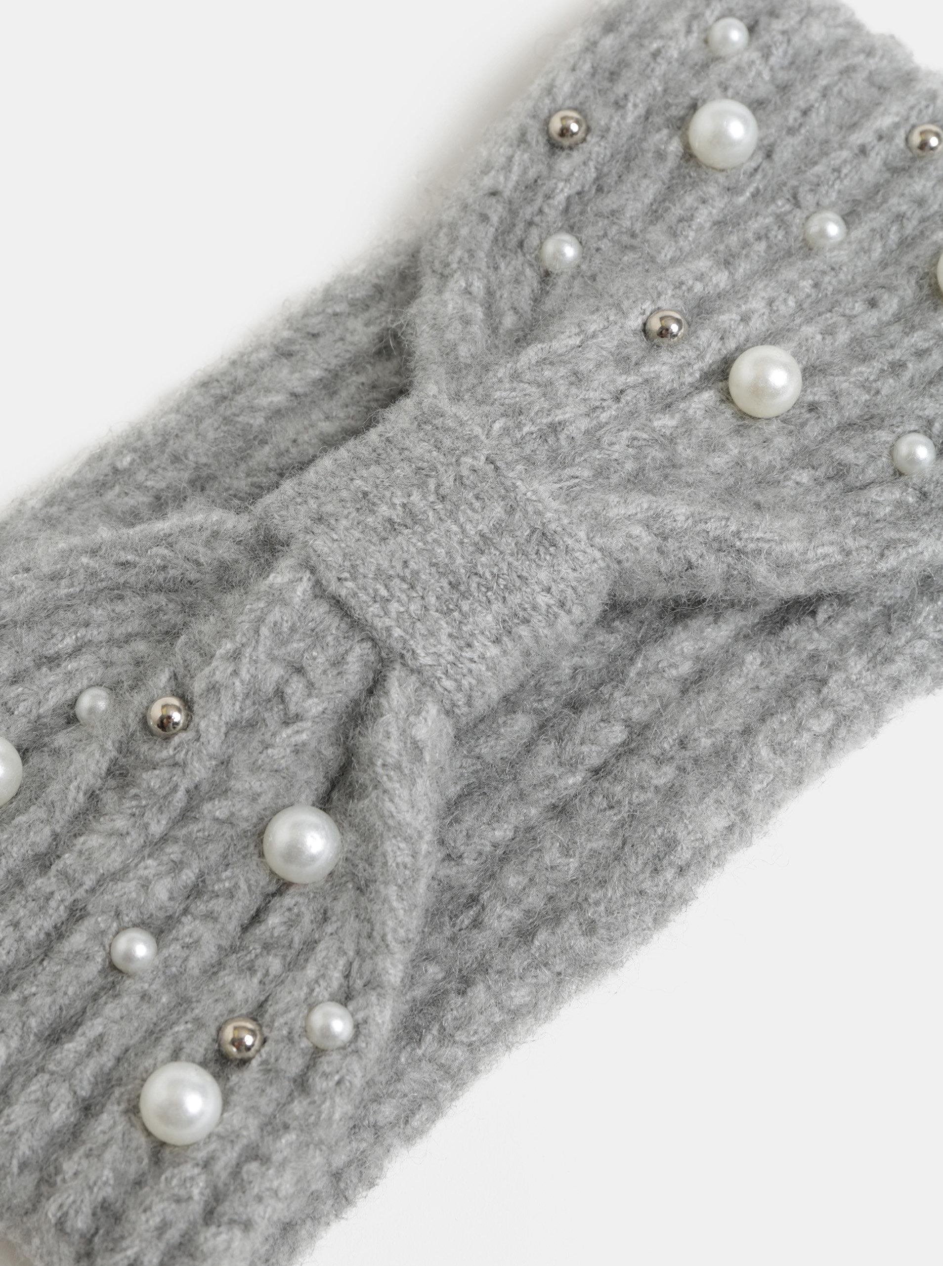 Světle šedá zimní čelenka s perličkami Pieces Felia ... f0718c7bba