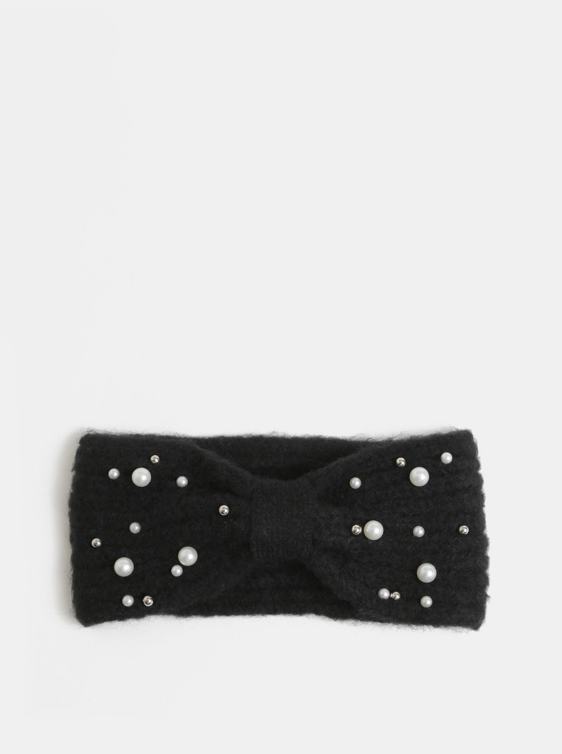 Černá zimní čelenka s perličkami Pieces Felia ... f5f980917b