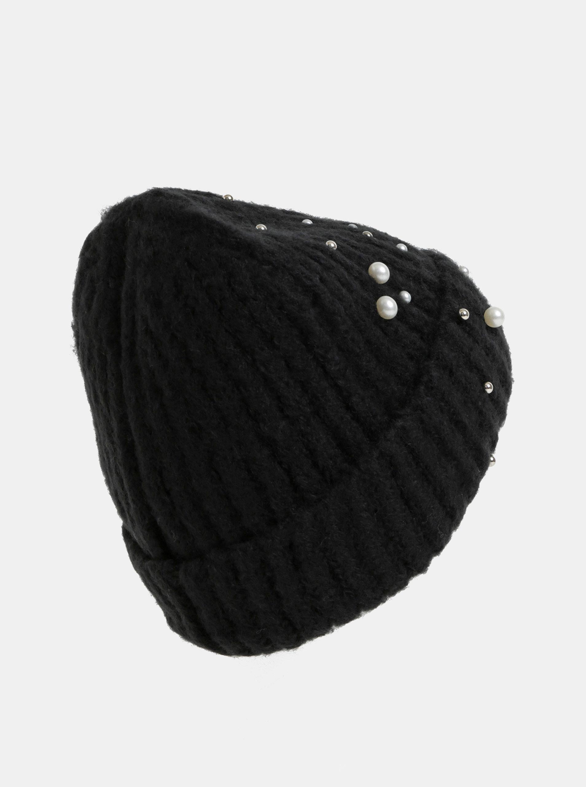 Černá zimní čepice s perličkami Pieces Felia ... 91ebd1738b
