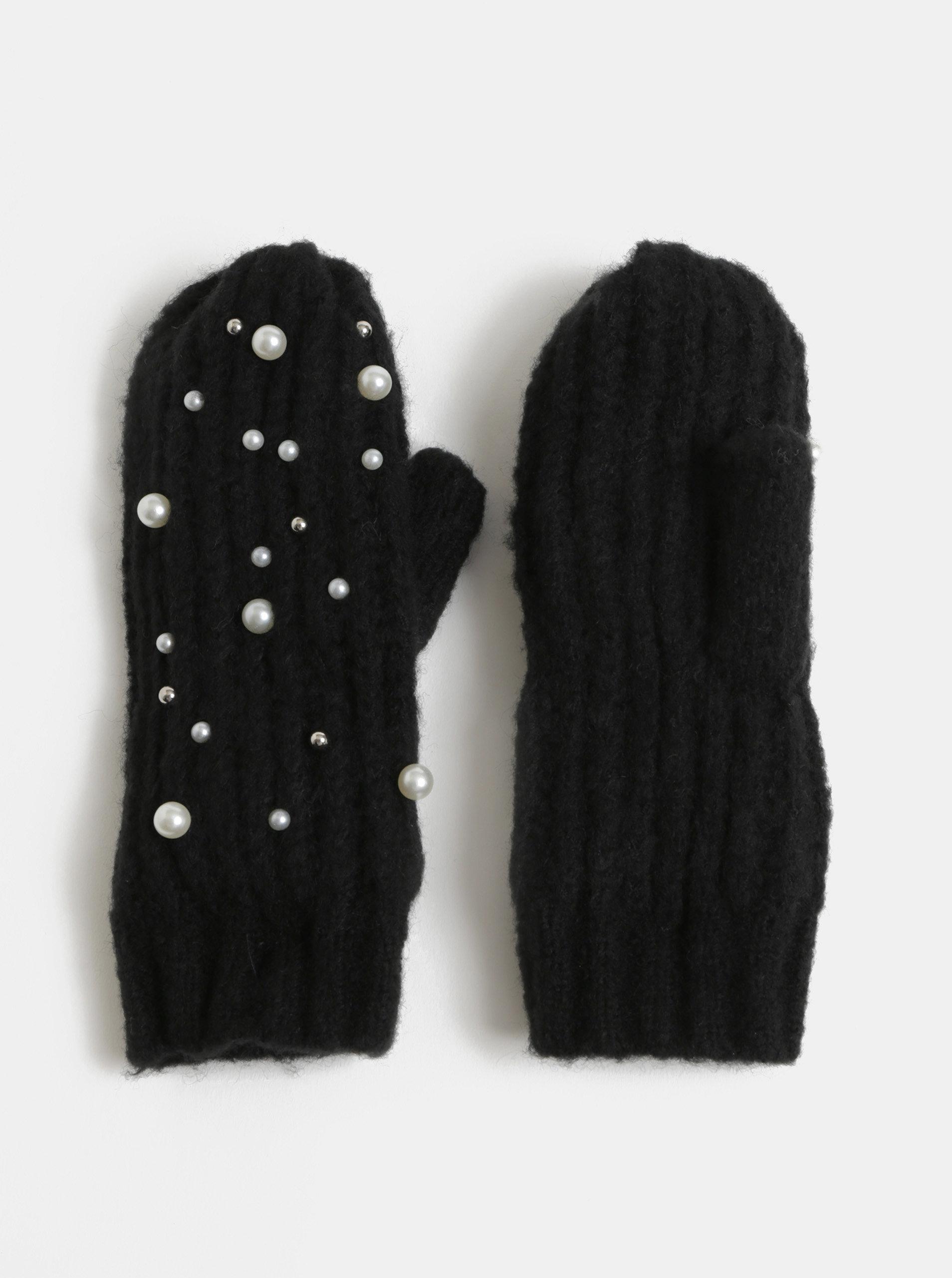 Černé palčáky s perličkami Pieces Felia ... 9ba2826a83
