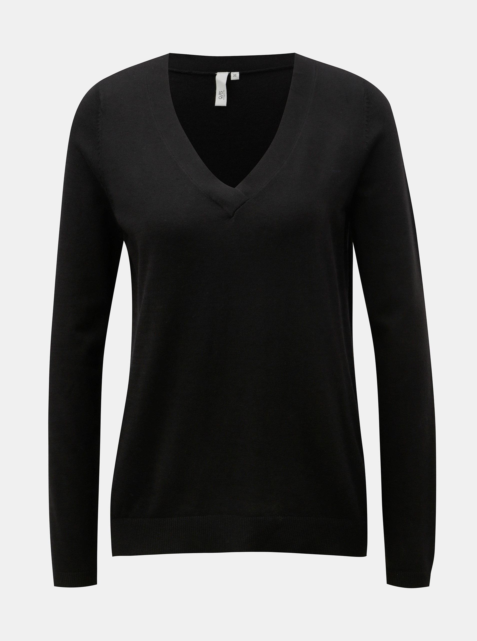 1ece93f3d81 Černý dámský lehký svetr s véčkovým výstřihem QS by s.Oliver