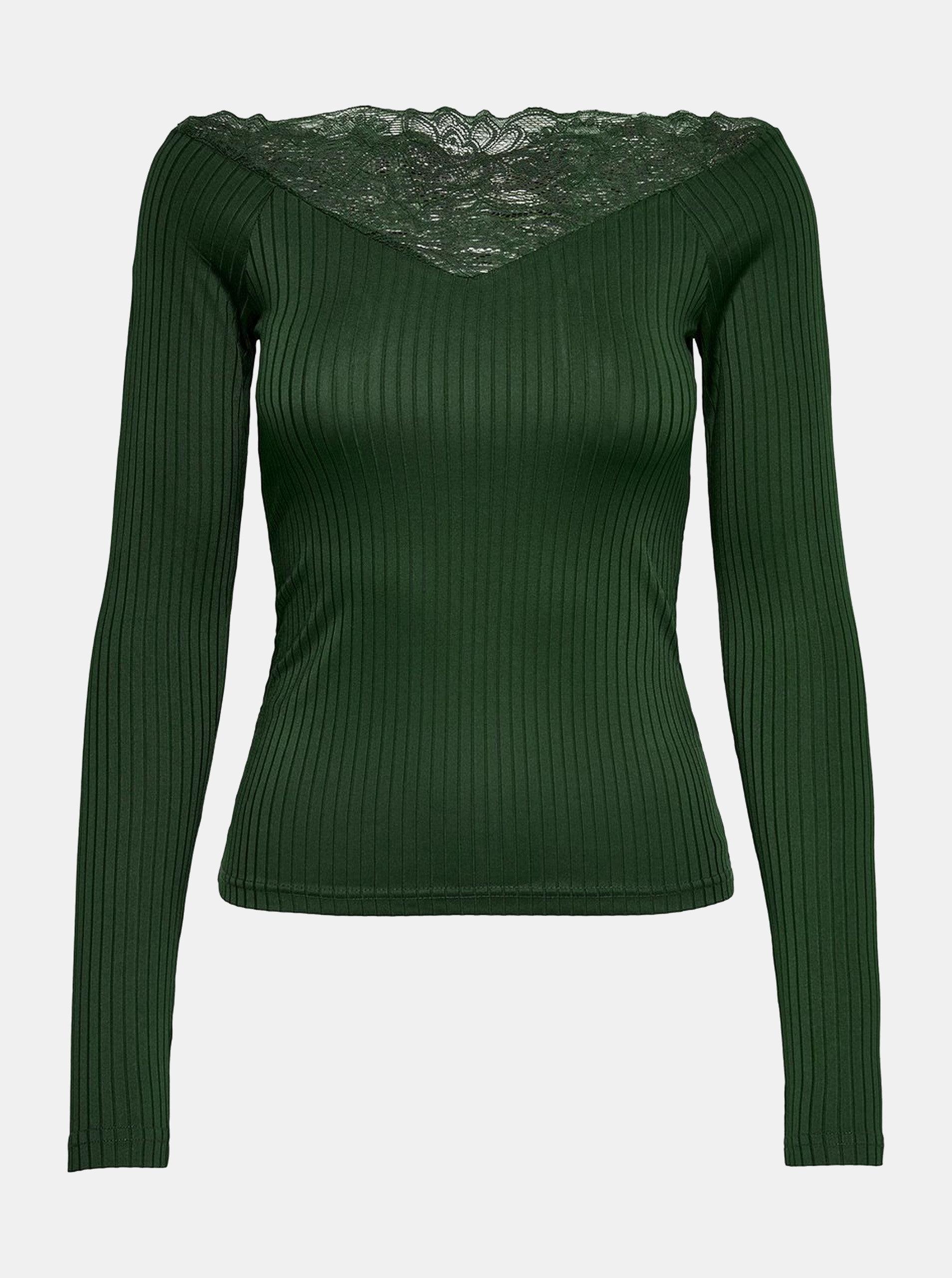 352c5d96ce Tmavozelené rebrované tričko s čipkovanými detailmi Jacqueline de Yong Rine  ...