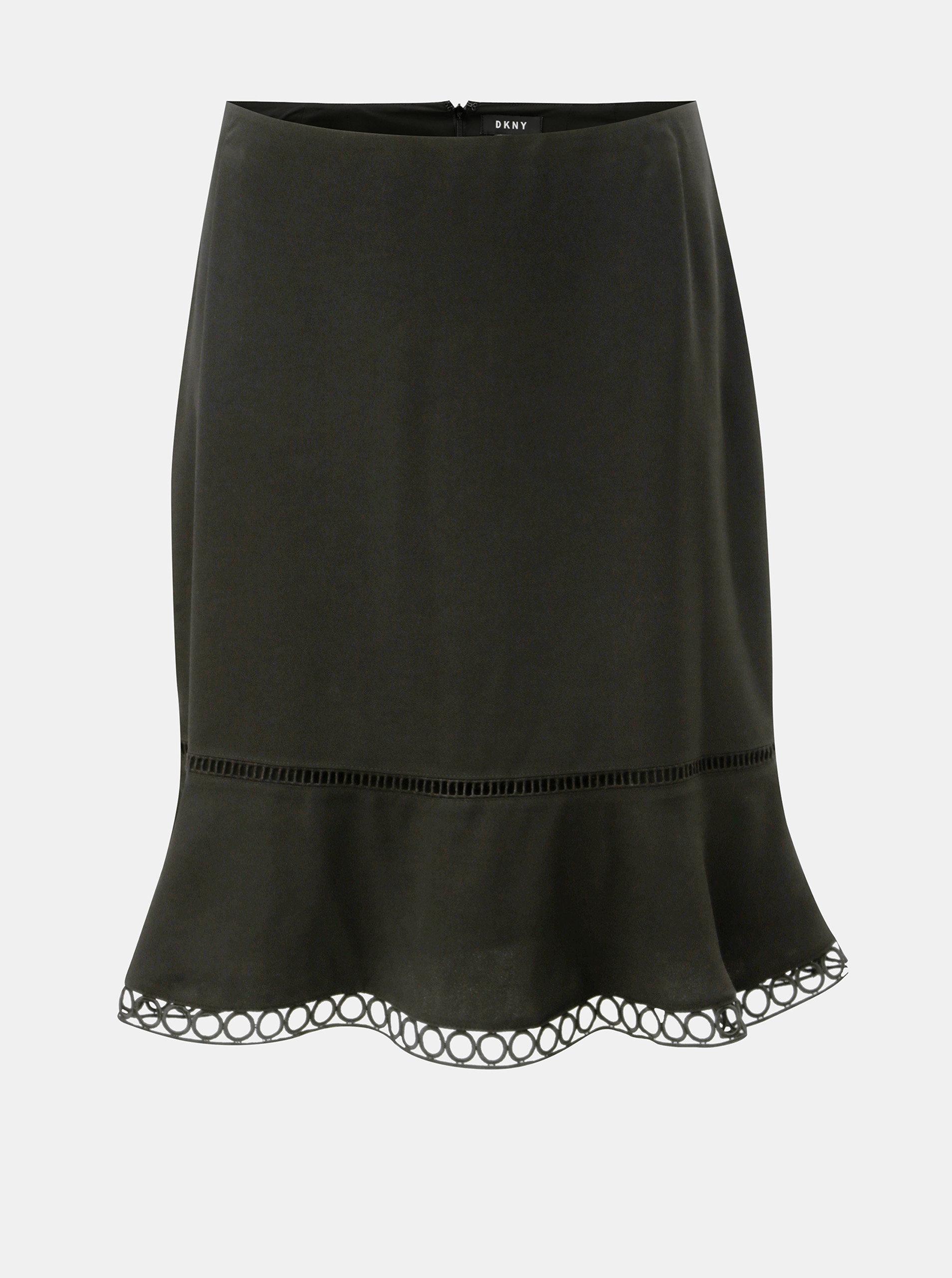 b71d74ef5 Čierna sukňa s čipkovaným lemom DKNY Flare | ZOOT.sk