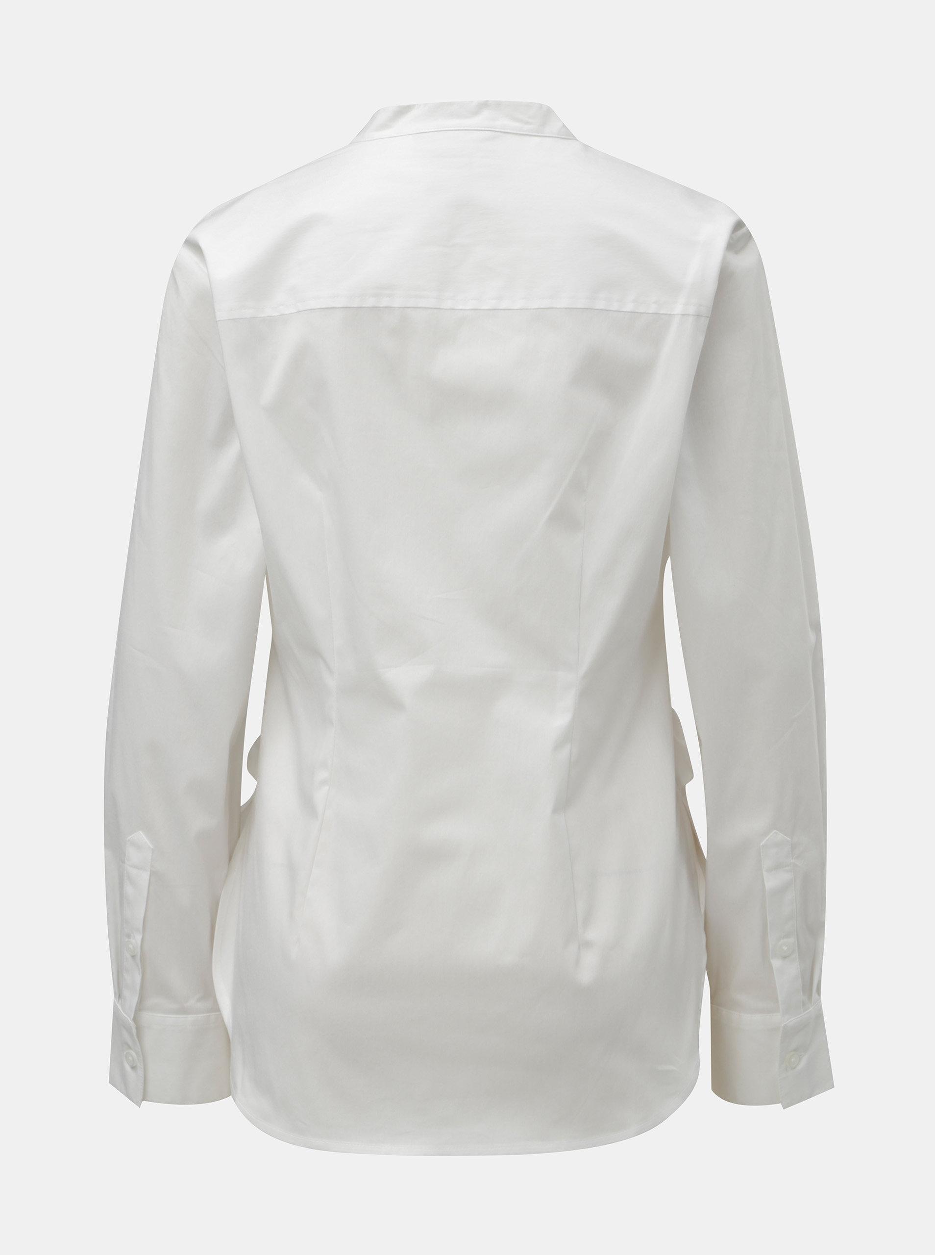 2bf2b26c23f7 Biela košeľa s mašľou DKNY Mandarin Collar ...