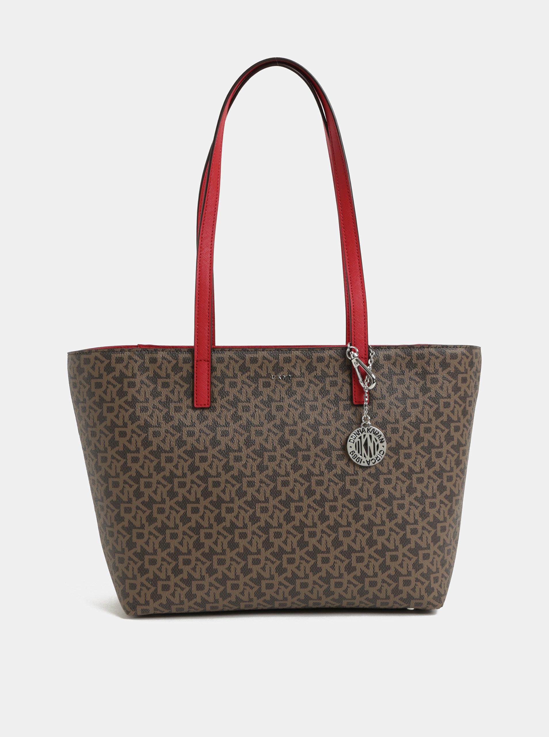 Červeno–hnedá kabelka s logom DKNY Bryant ... 0b6dde28a3d