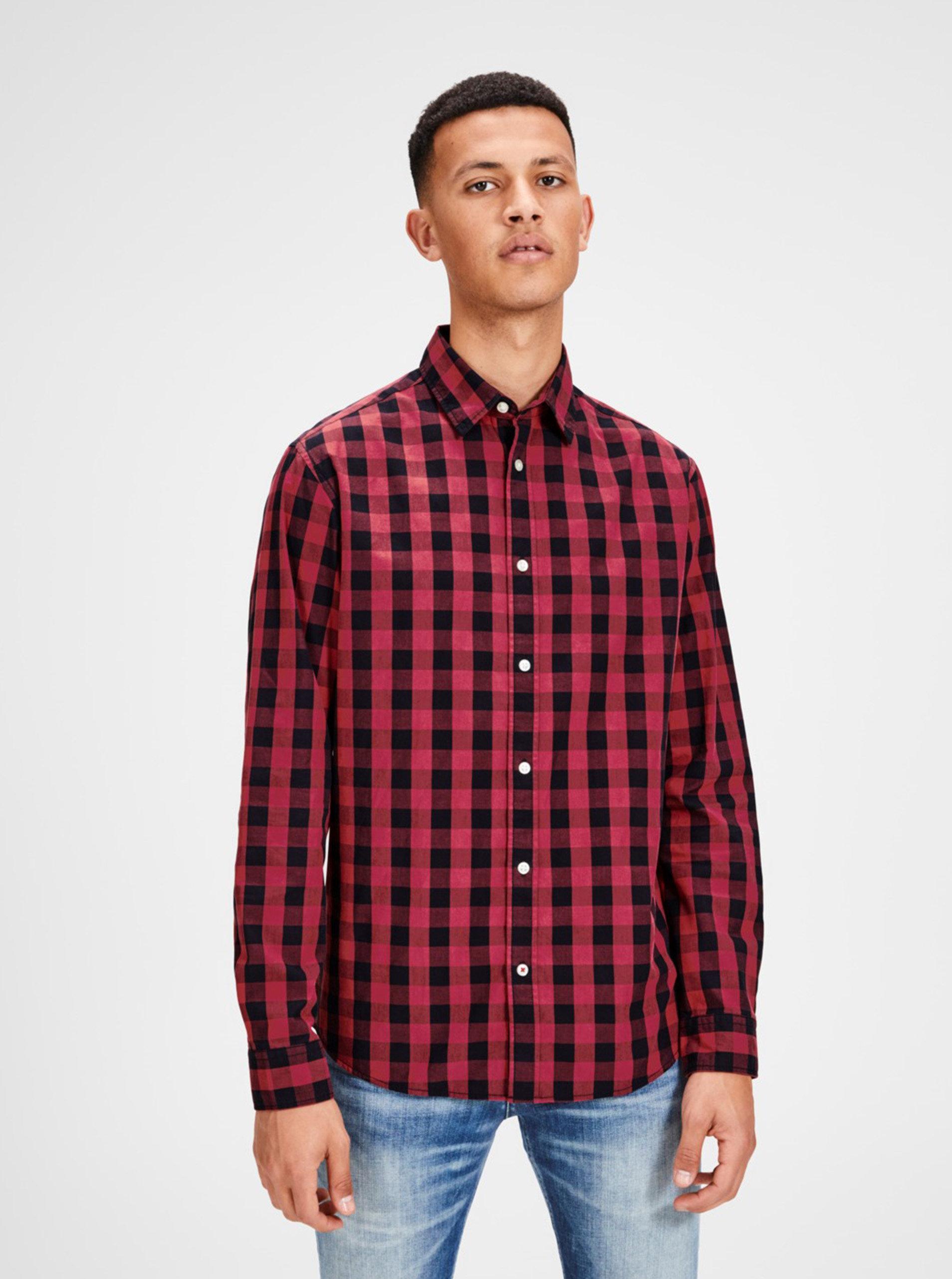 5ce96dac806f Čierno-červená károvaná košeľa s dlhým rukávom Jack   Jones Gingham ...