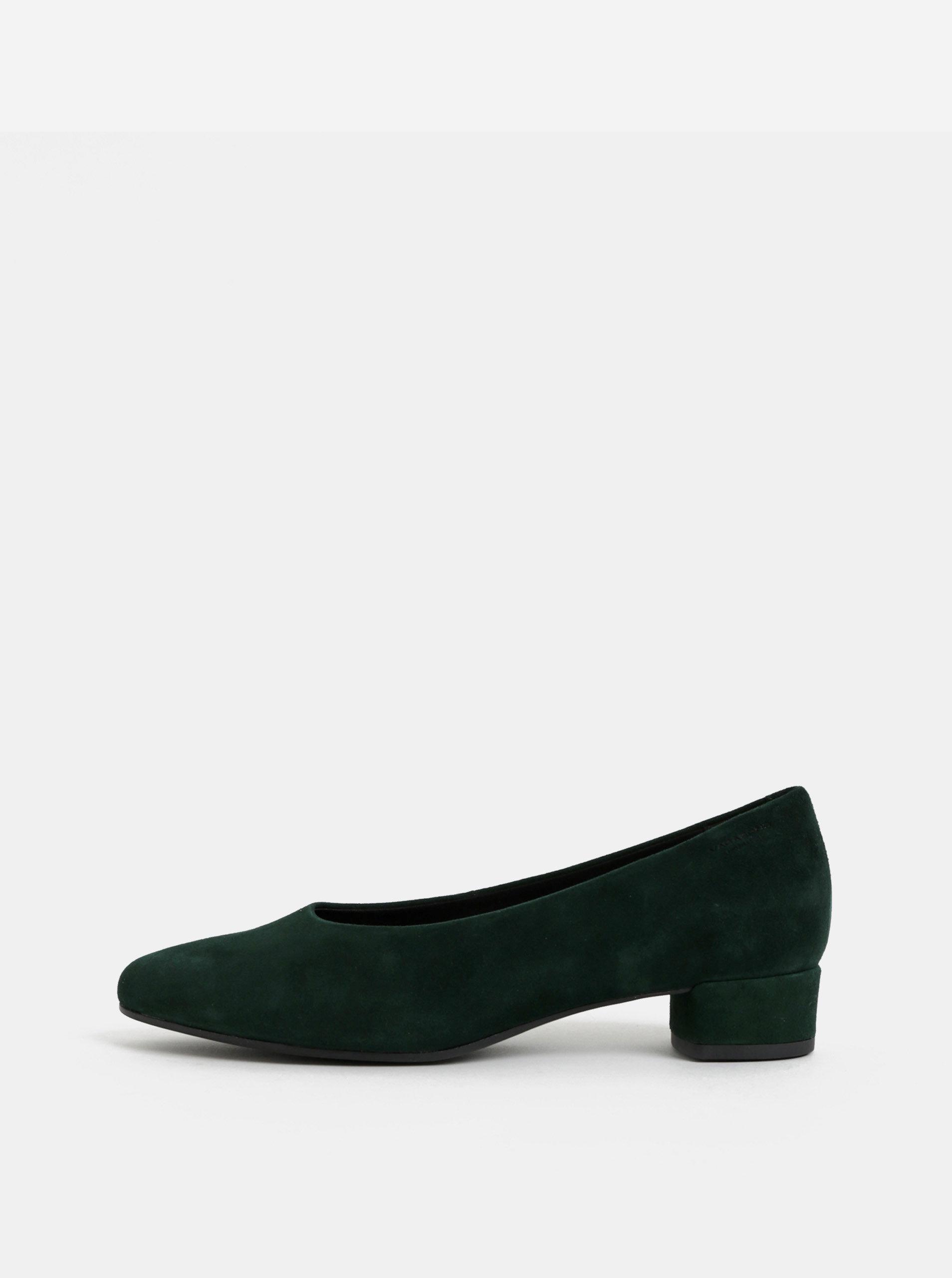 06df8eb25469 Tmavě zelené semišové lodičky na nízkém podpatku Vagabond Alicia ...