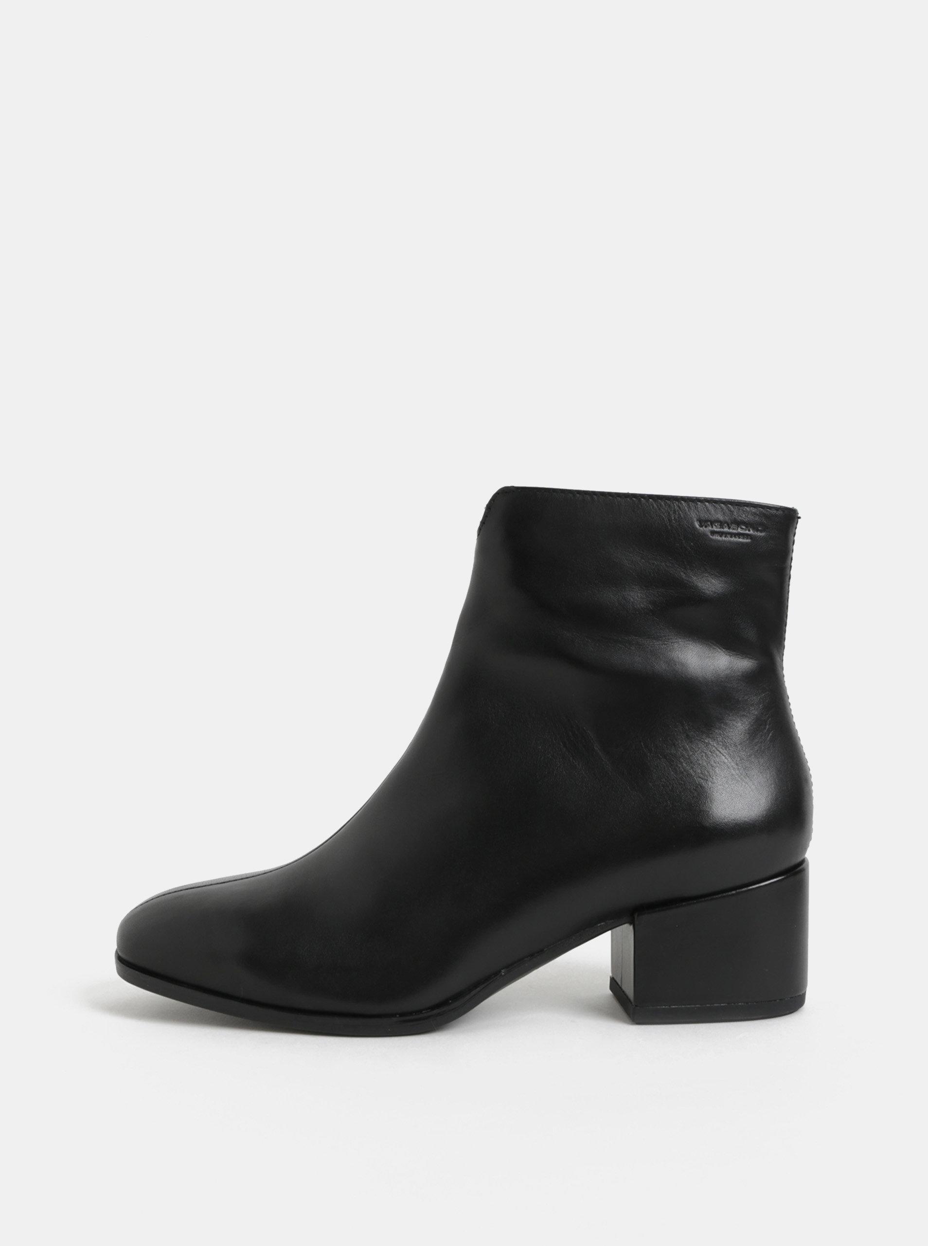 9cec6acaa534 Černé dámské kožené kotníkové boty na nízkém podpatku Vagabond Daisy ...
